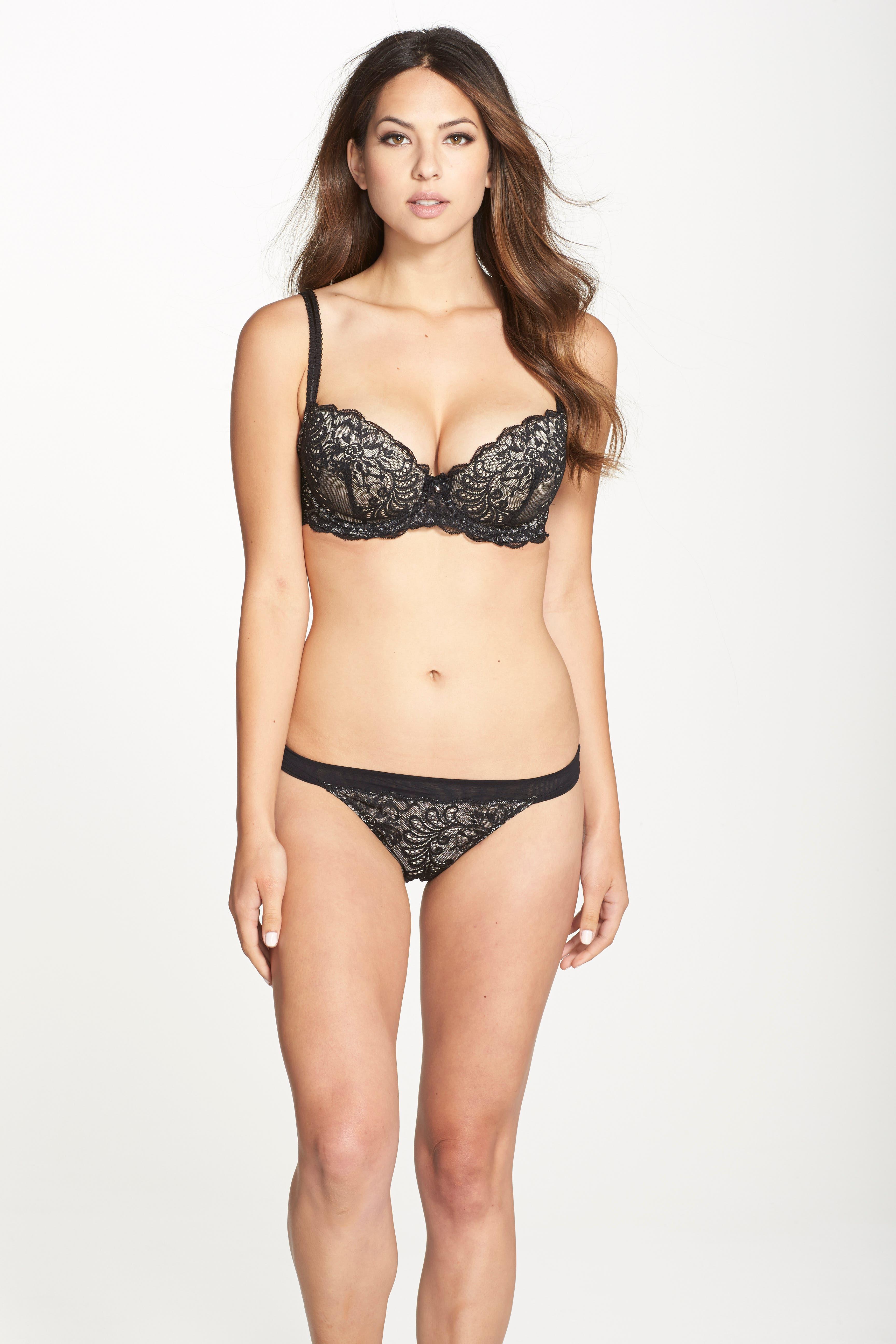 'Sophia' Lace Bikini,                             Alternate thumbnail 6, color,                             BLACK