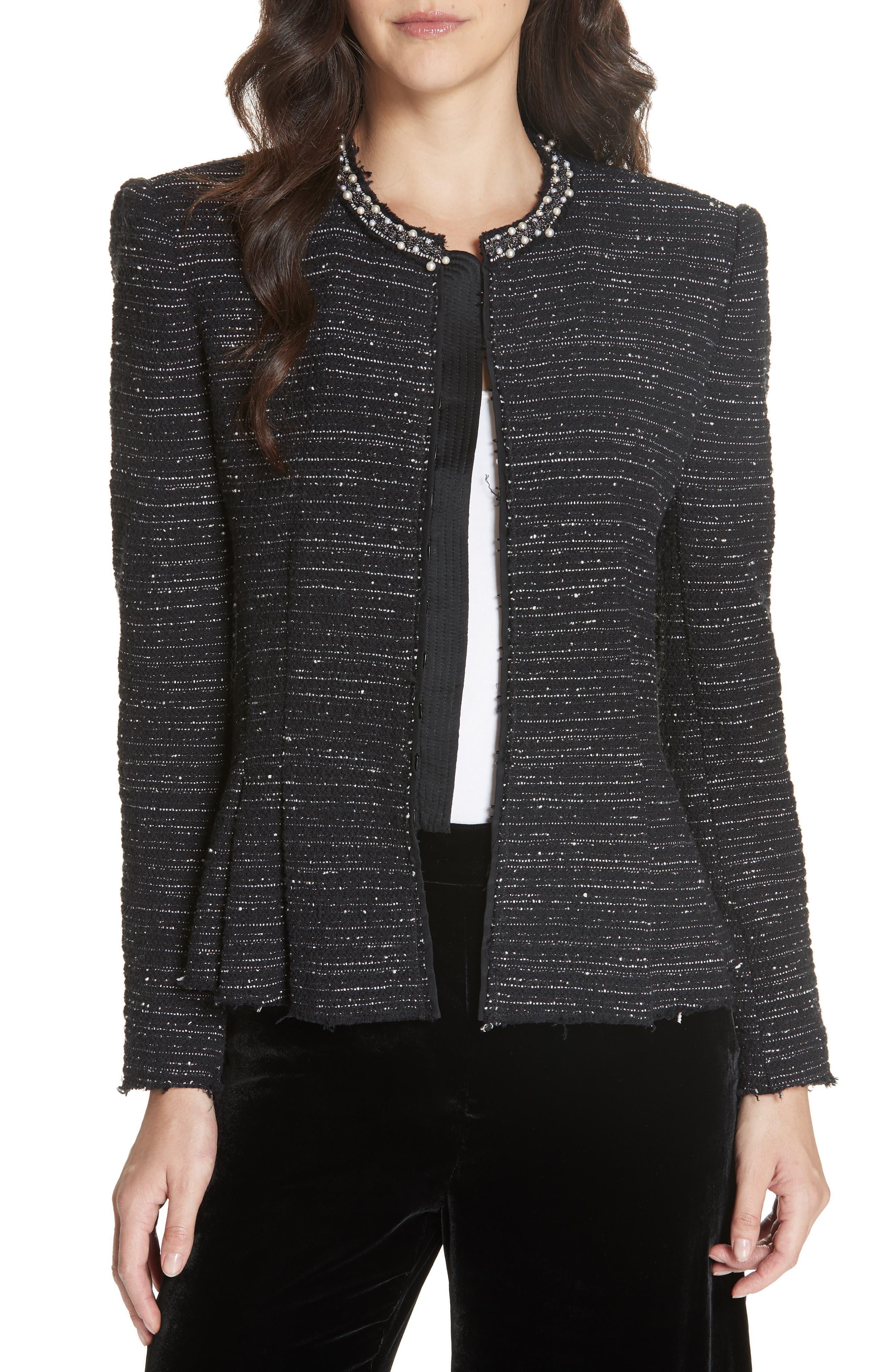 Embellished Stretch Tweed Jacket,                             Main thumbnail 1, color,                             BLACK COMBO