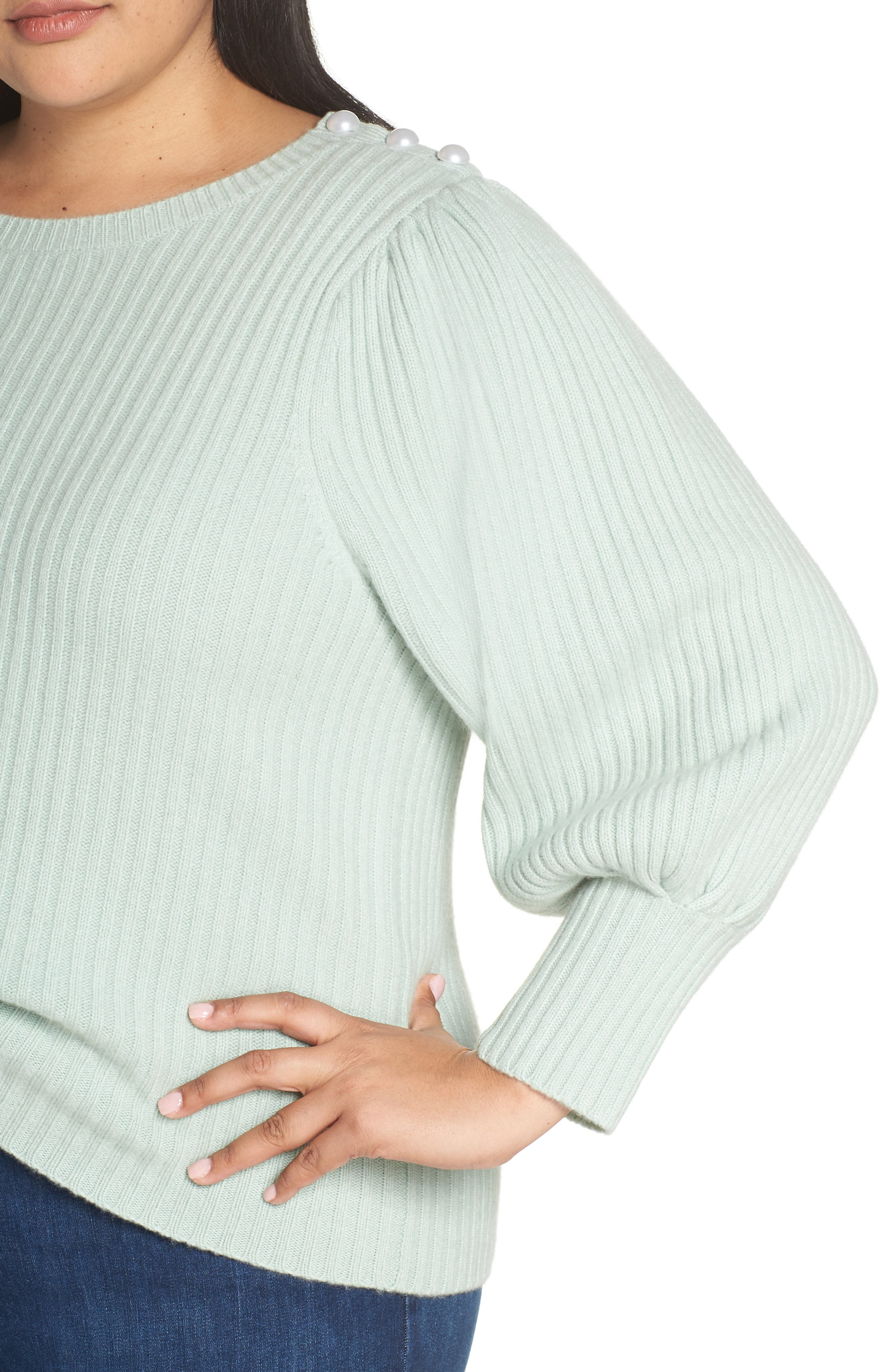 x Atlantic-Pacific Balloon Sleeve Wool & Cashmere Sweater,                             Alternate thumbnail 4, color,                             330