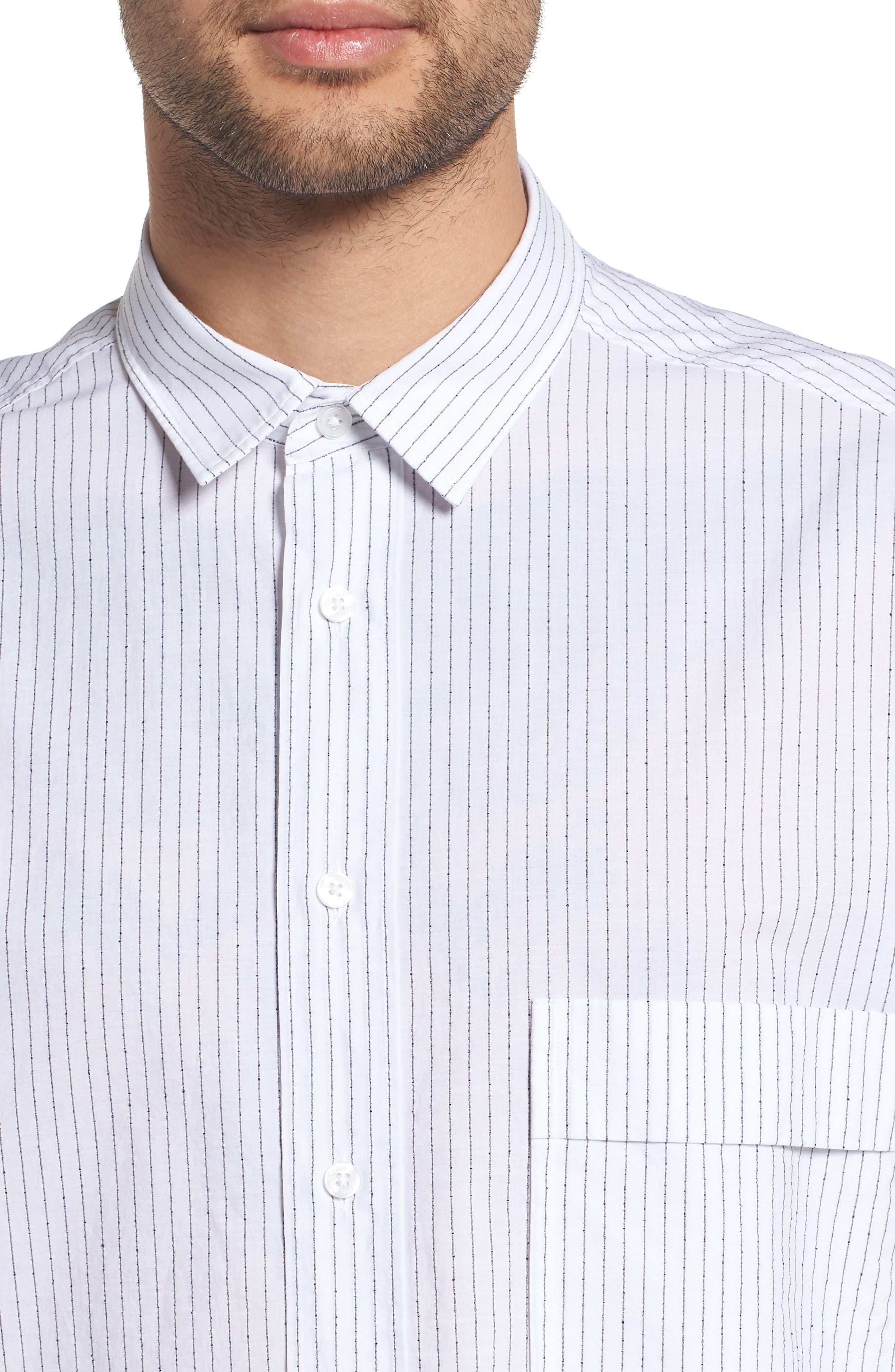 Ery Stripe Classic Fit Sport Shirt,                             Alternate thumbnail 4, color,                             WHITE