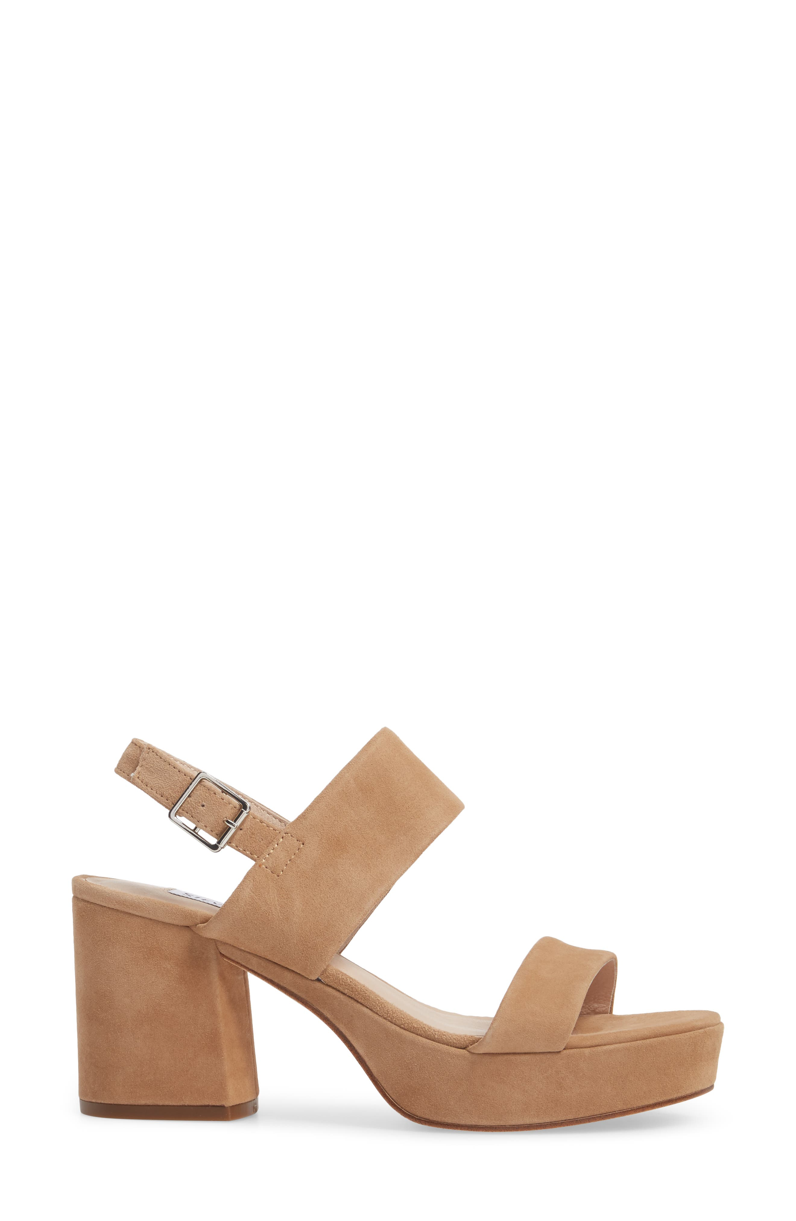 Reba Slingback Platform Sandal,                             Alternate thumbnail 3, color,                             TAN SUEDE
