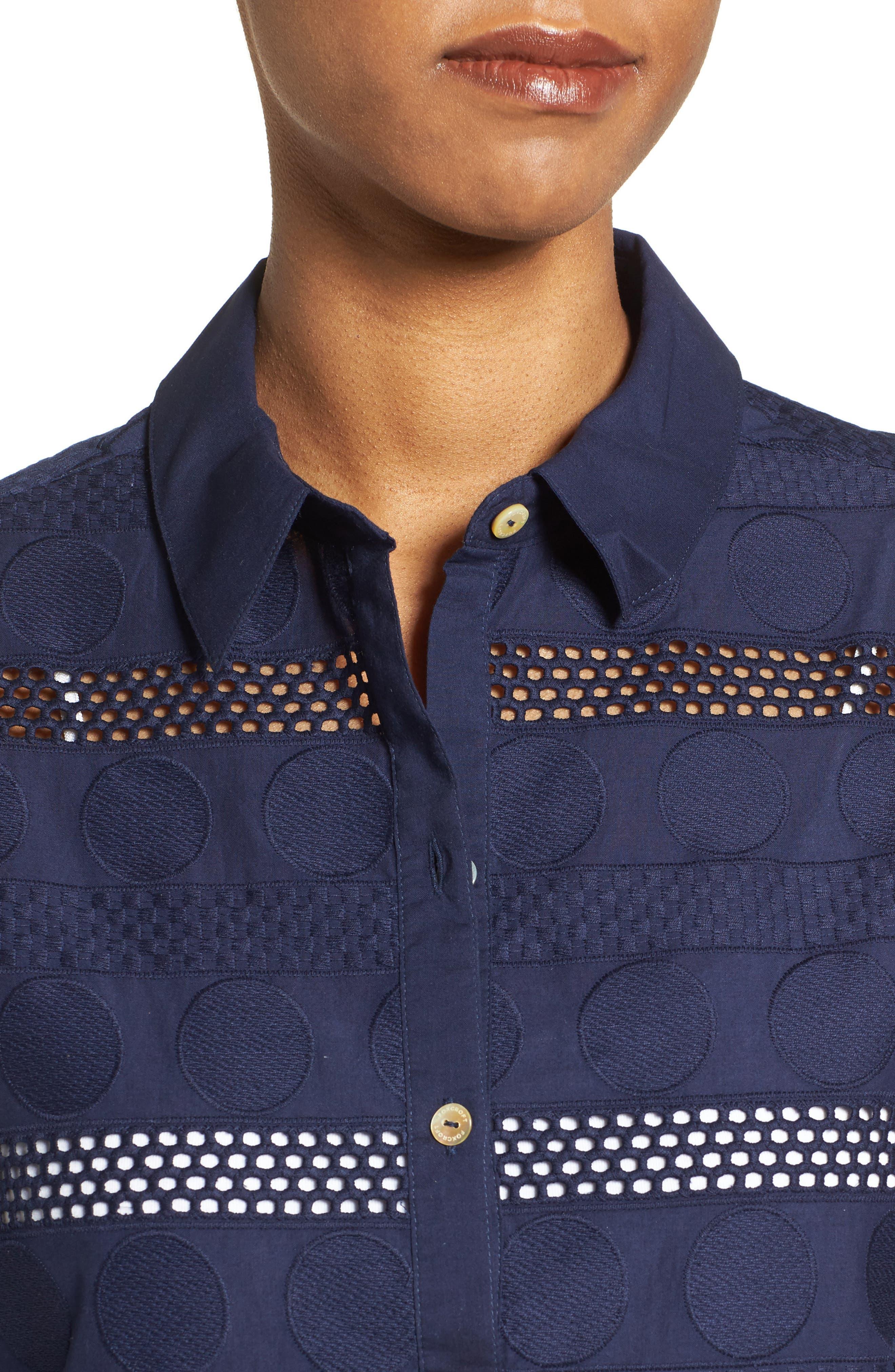 Circle Eyelet Tunic Shirt,                             Alternate thumbnail 4, color,                             415