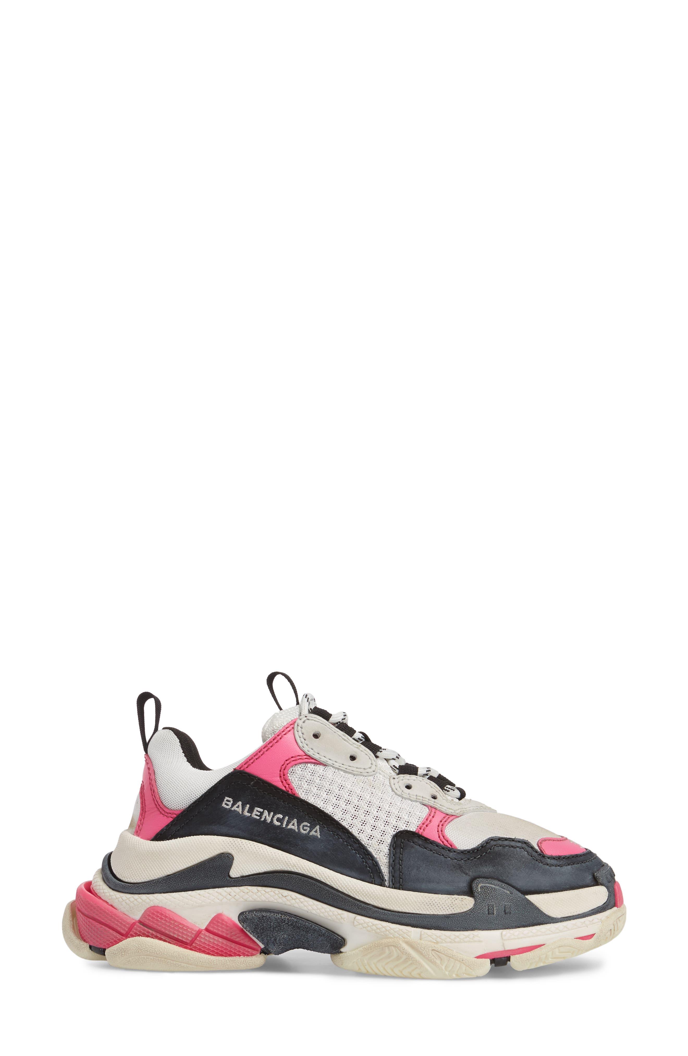 BALENCIAGA,                             Triple S Low Top Sneaker,                             Alternate thumbnail 3, color,                             WHITE/ BLACK/ PINK