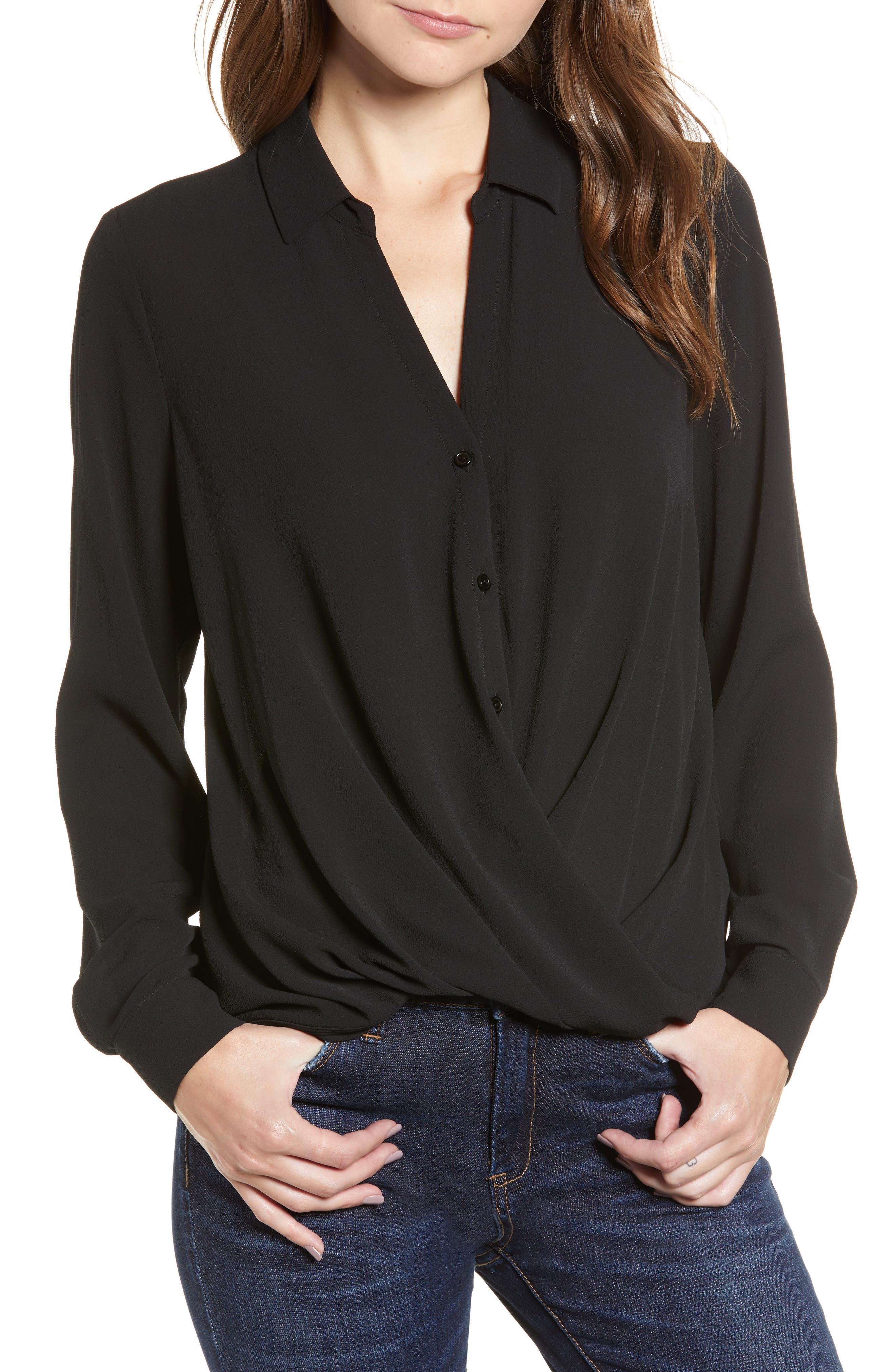 Patterned Drape Front Blouse,                         Main,                         color, BLACK
