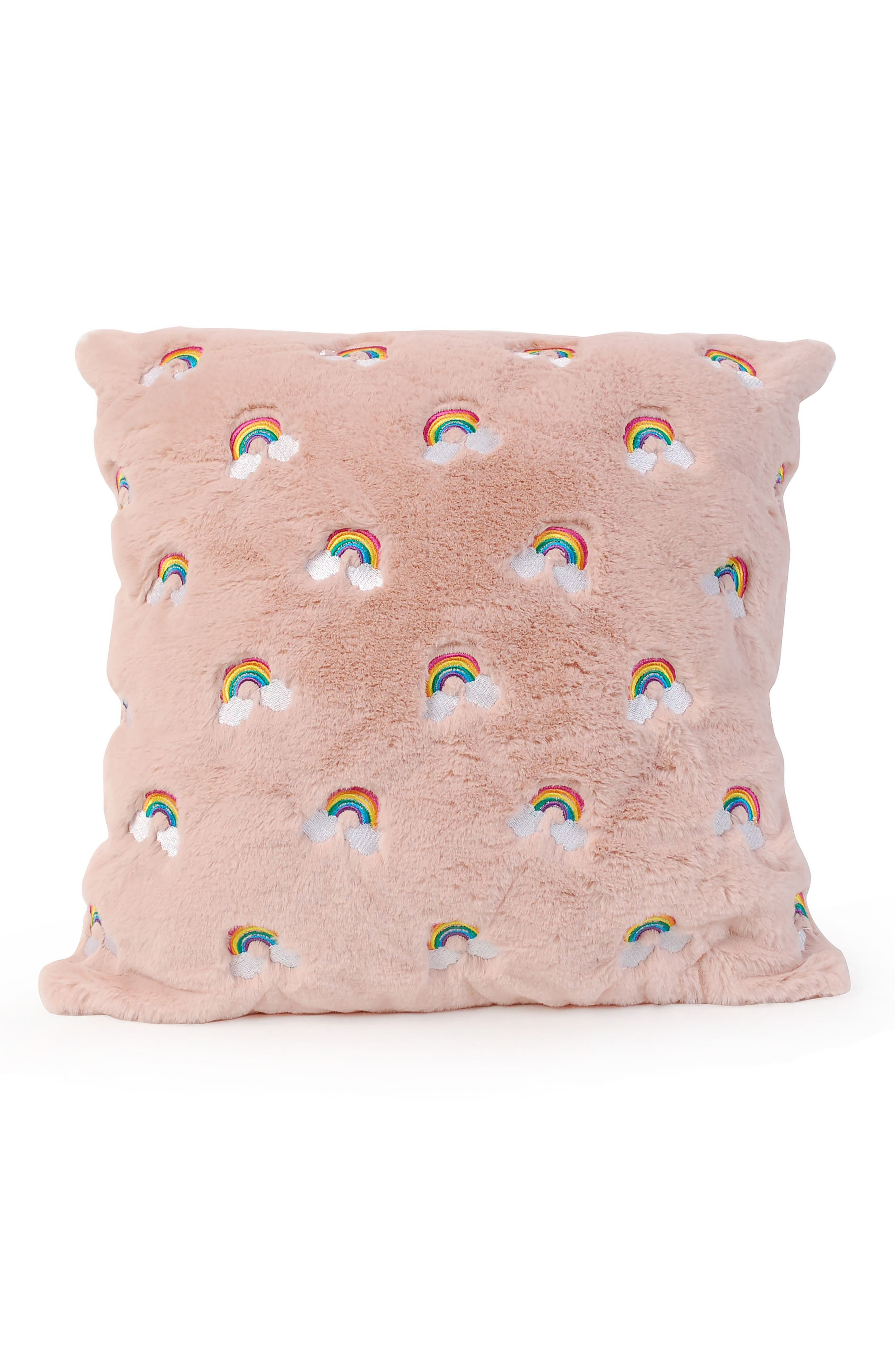 OMG,                             Rainbow Embroidered Fluffy Pillow,                             Main thumbnail 1, color,                             BLUSH