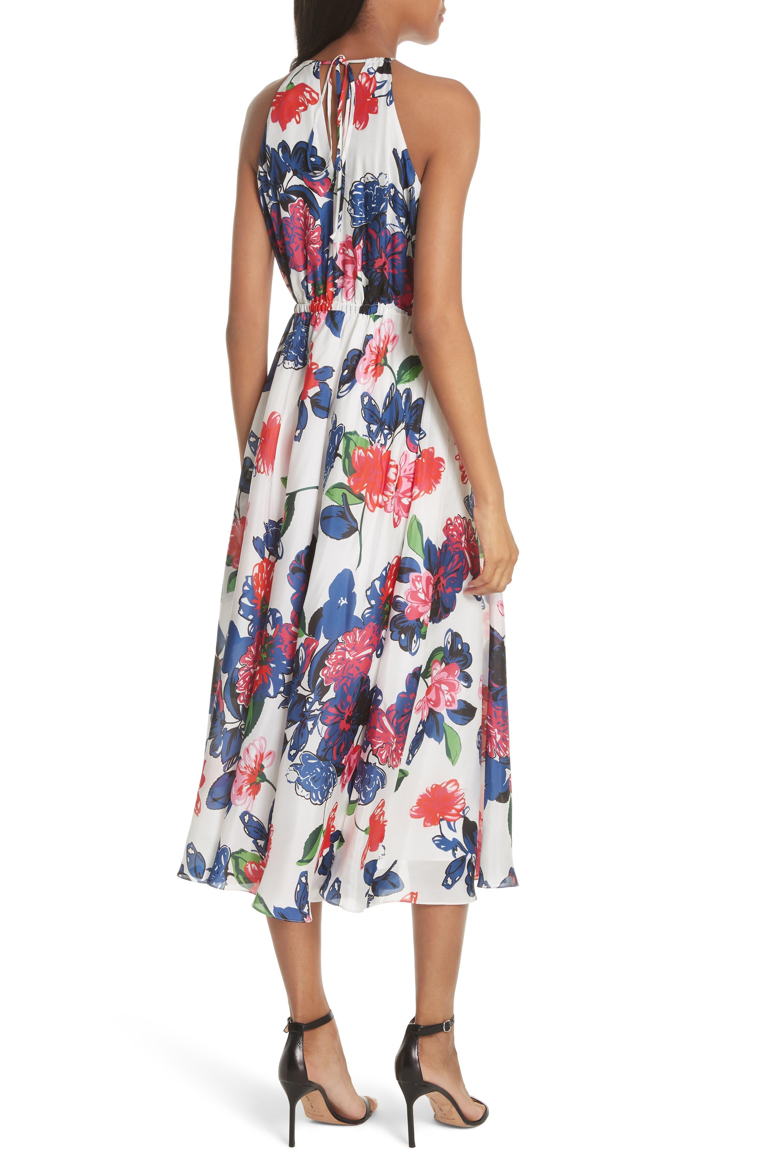 Floral Print Double Keyhole Silk Dress,                             Alternate thumbnail 2, color,                             MULTI