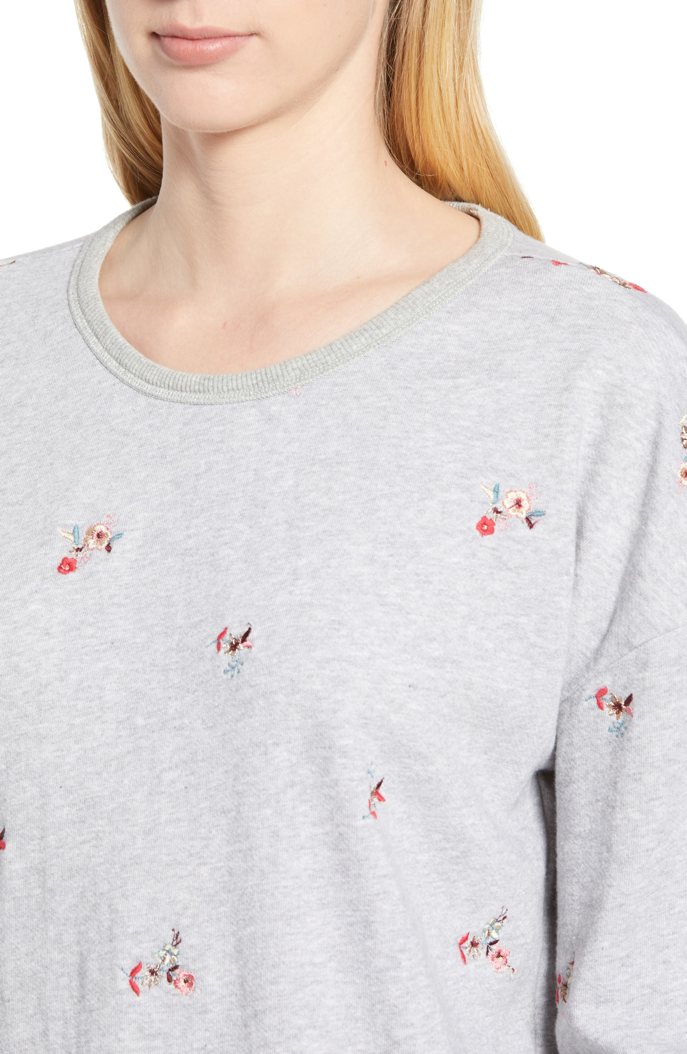 Embroidered Flowers Sweatshirt,                             Alternate thumbnail 4, color,                             030