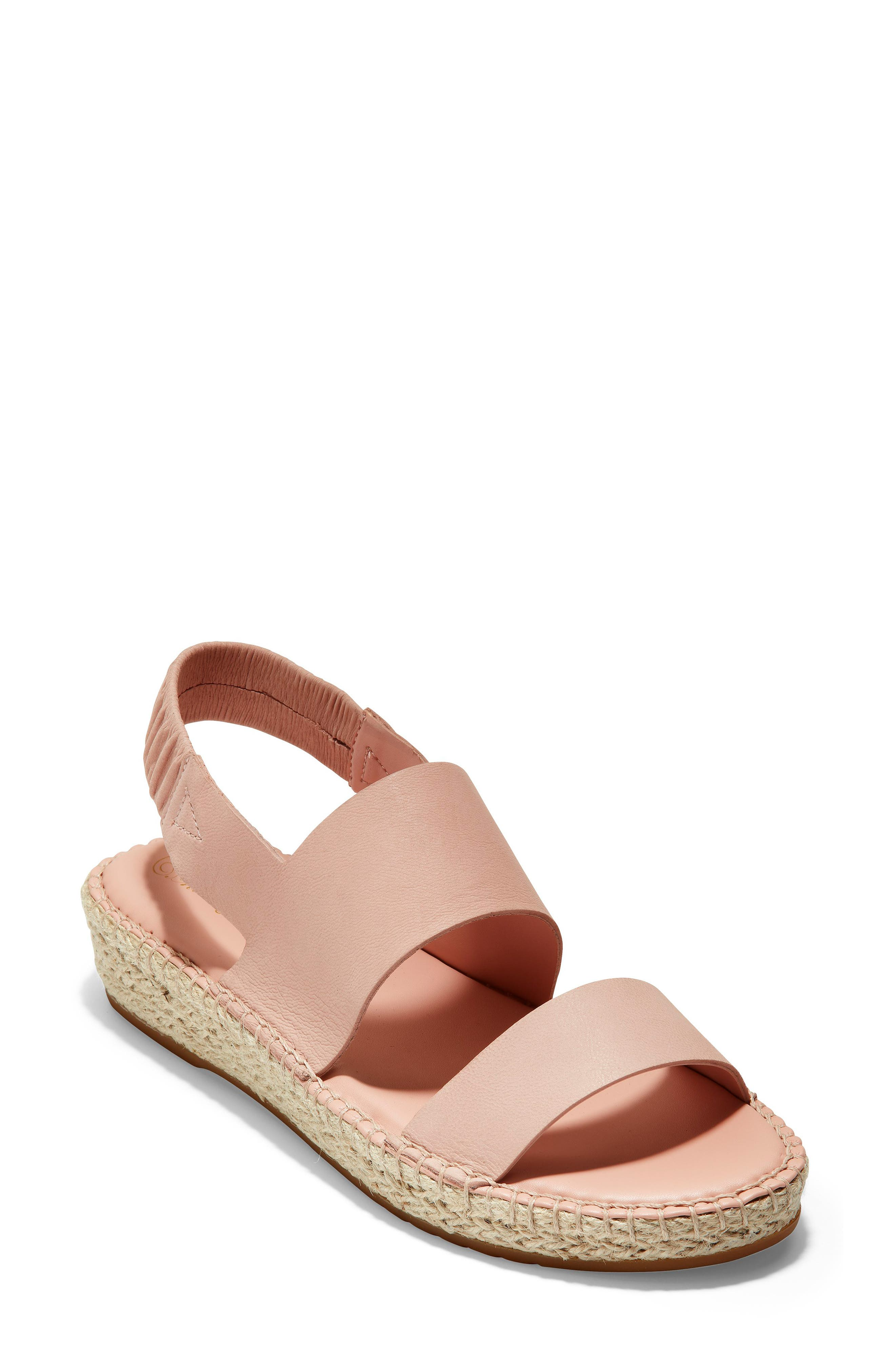 a6b3e81fb47 Cole Haan Women s Cloudfeel Slingback Platform Espadrille Sandals In Rose  Nubuck  Natural Fabric
