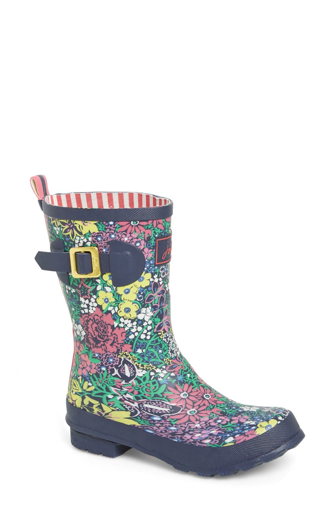 JOULES,                             Mid Height Print Welly Rain Boot,                             Main thumbnail 1, color,                             401