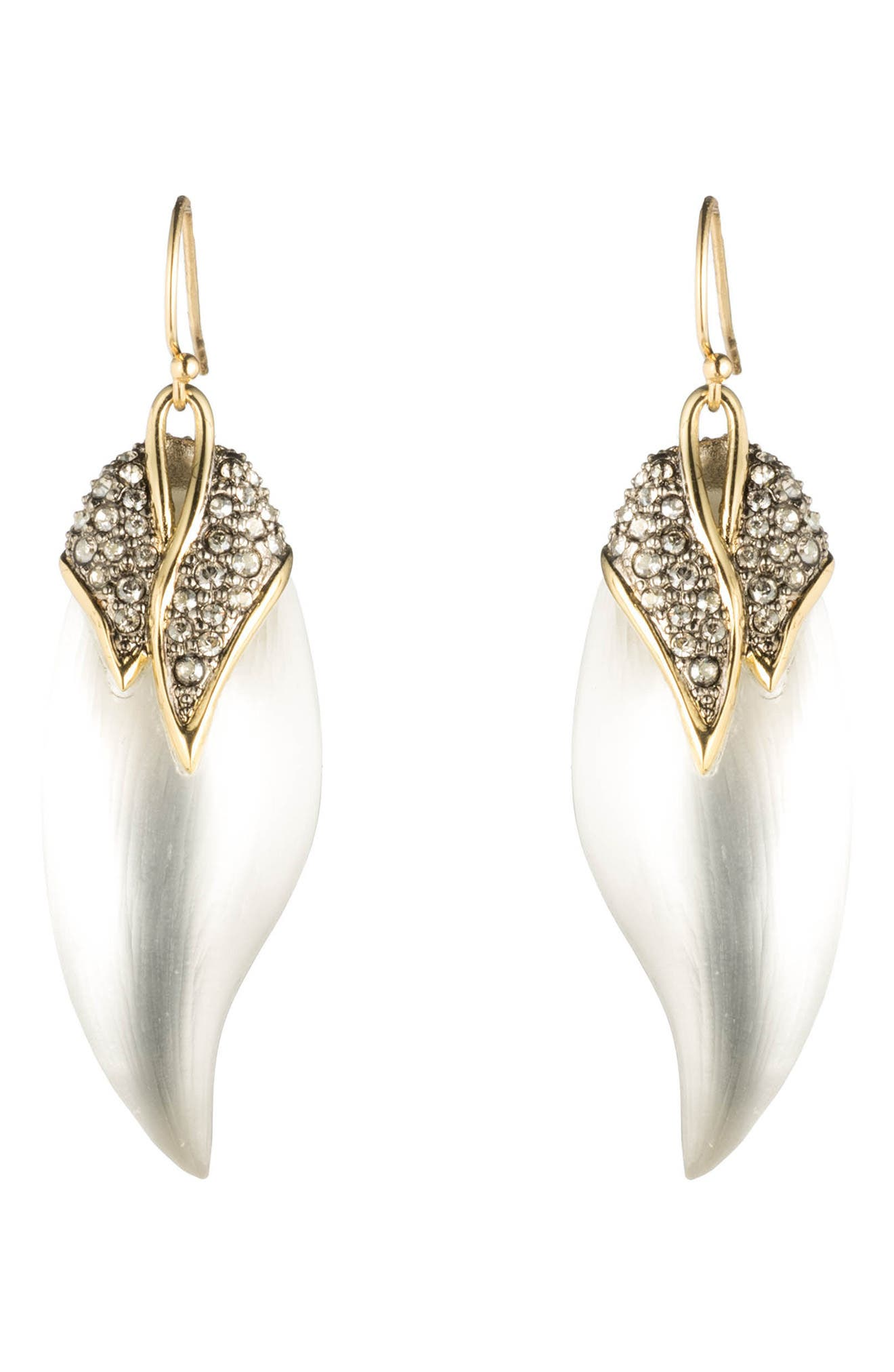 Crystal Encrusted Capped Feather Earrings,                             Main thumbnail 1, color,                             040