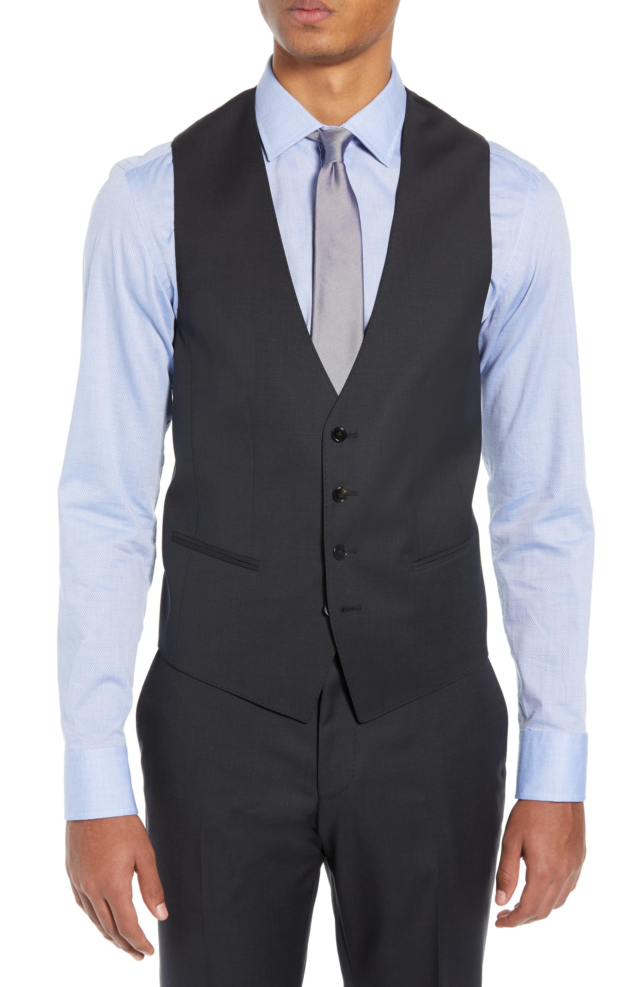 BOSS,                             Helward/Genius Trim Fit Solid Three Piece Wool Suit,                             Alternate thumbnail 2, color,                             DARK GREY