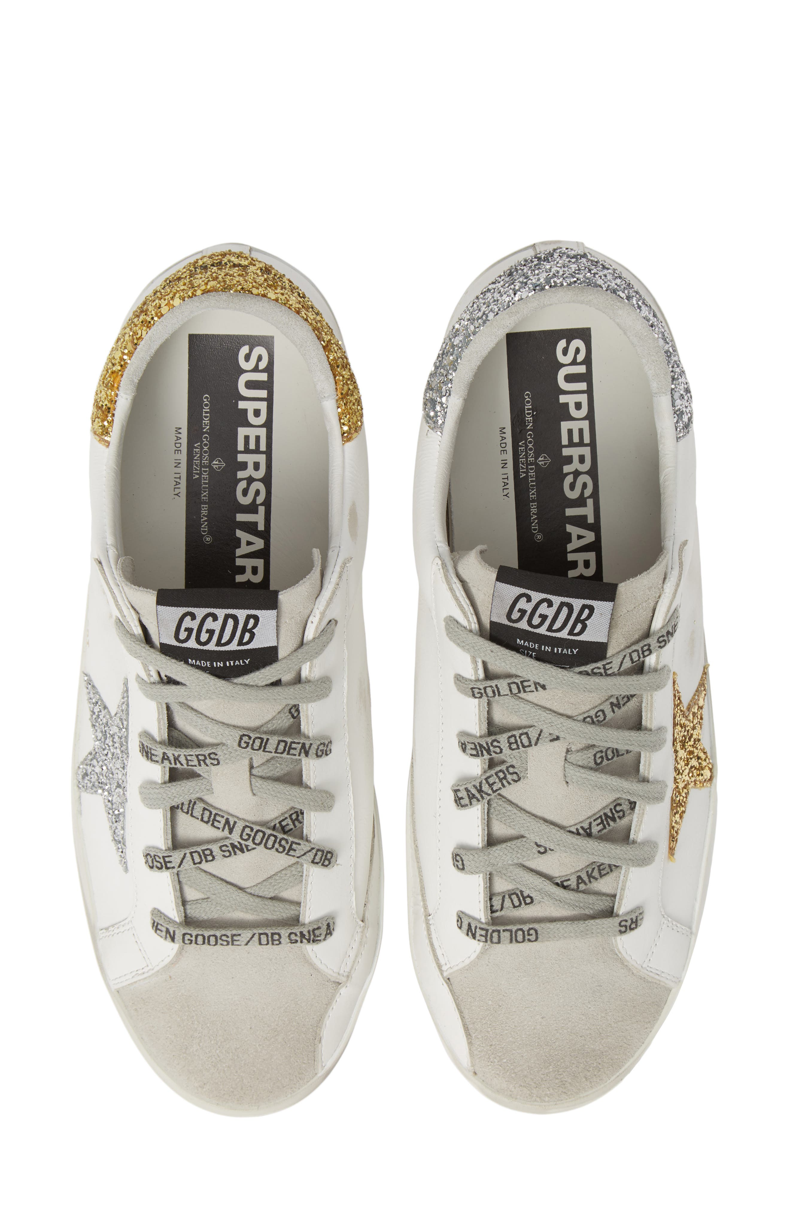 Superstar Low Top Sneaker,                             Main thumbnail 1, color,                             WHITE/ GOLD/ SILVER