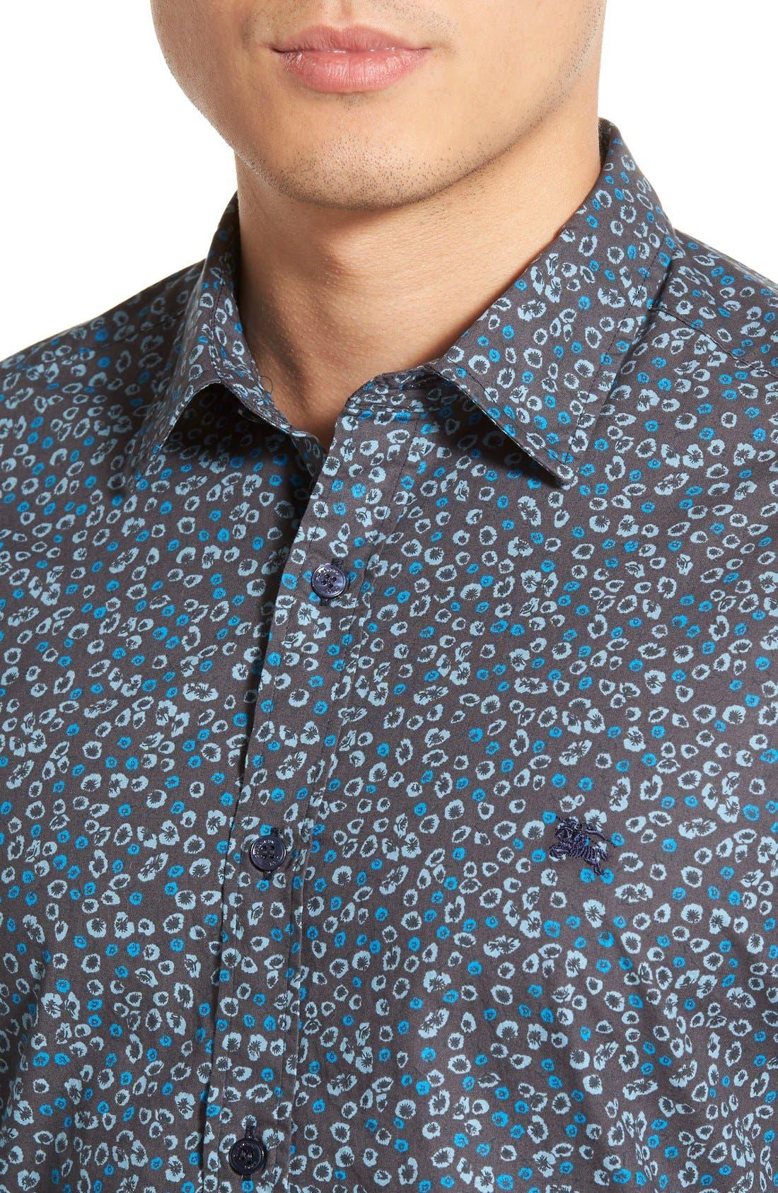 Brit 'Jonson' Trim Fit Flower Print Cotton Sport Shirt,                             Alternate thumbnail 5, color,                             410