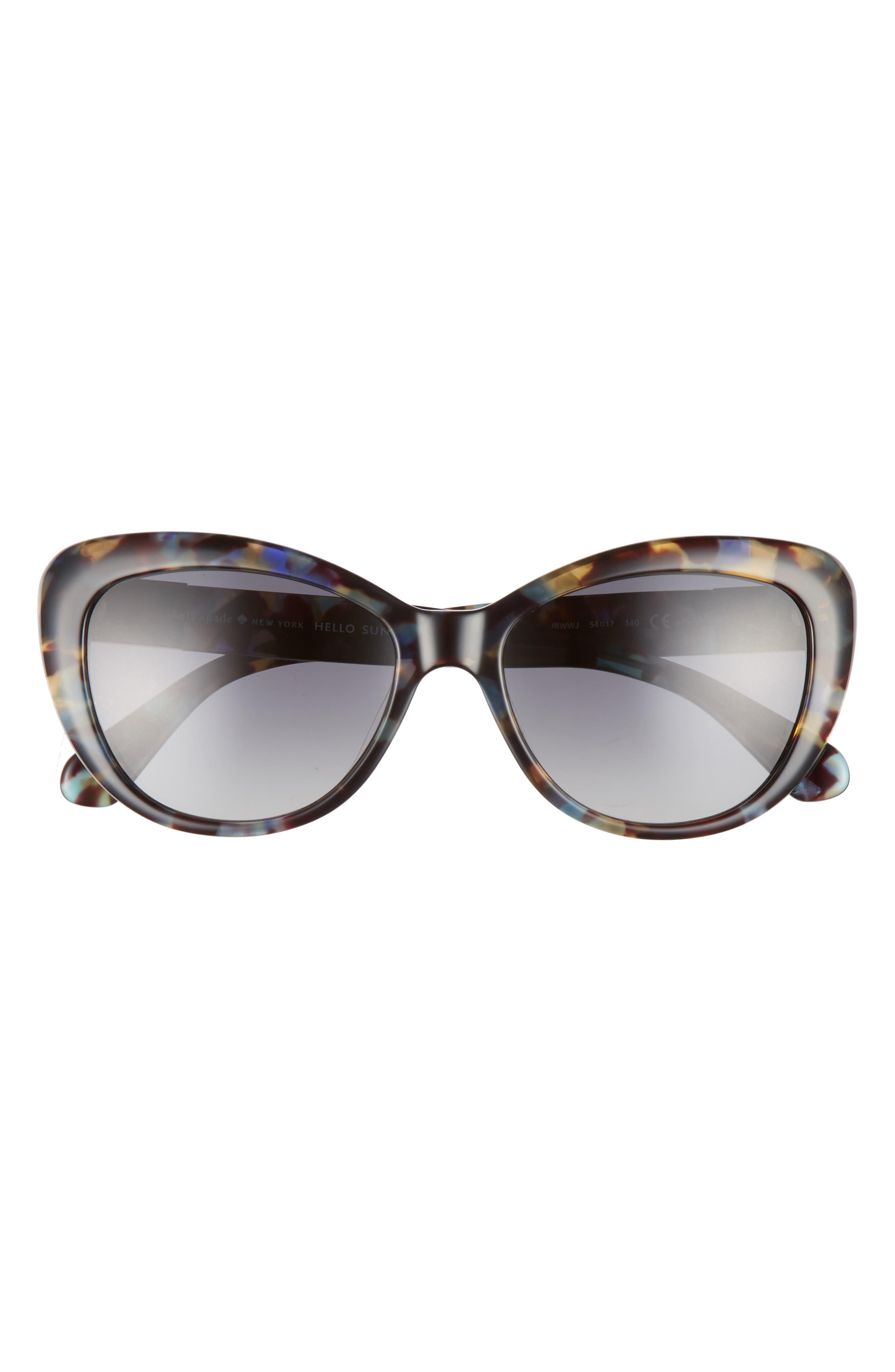 emmalyn 54mm polarized cat eye sunglasses,                             Alternate thumbnail 3, color,                             BLUE HAVANA