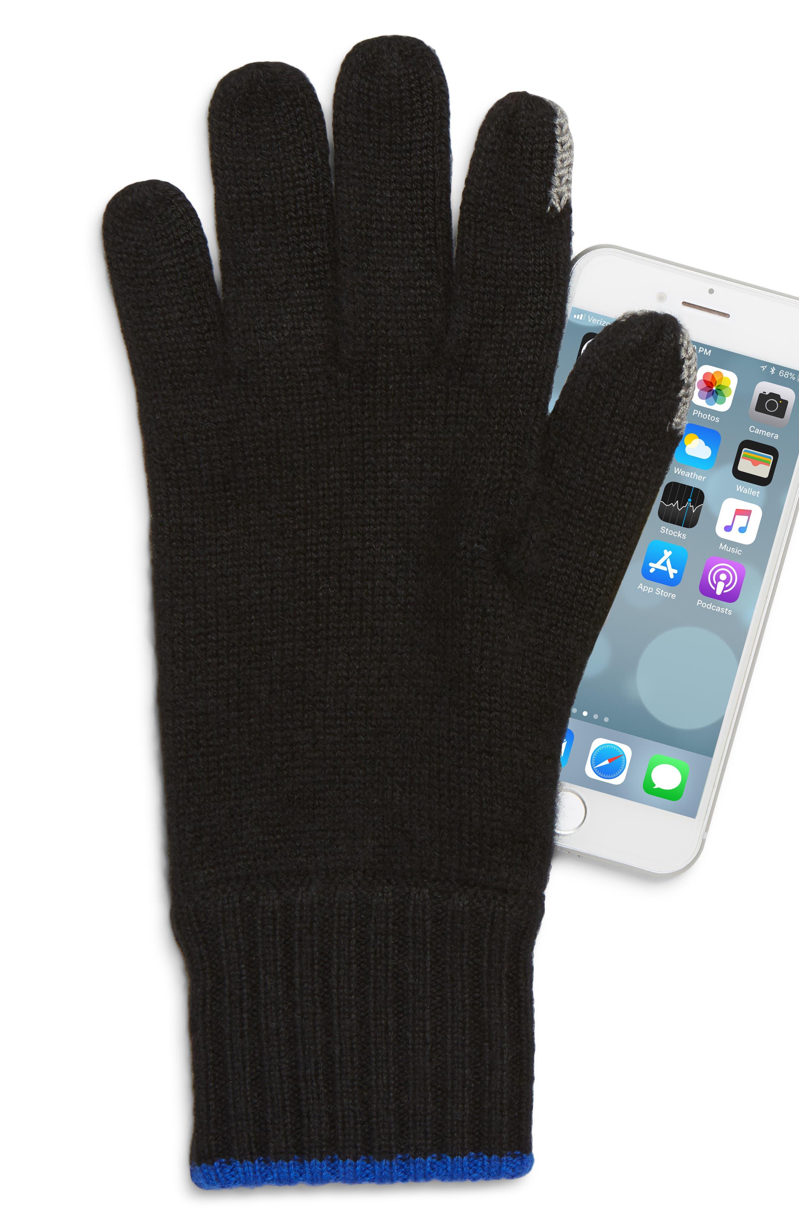 Yorke Cashmere Gloves,                             Alternate thumbnail 2, color,                             BLACK