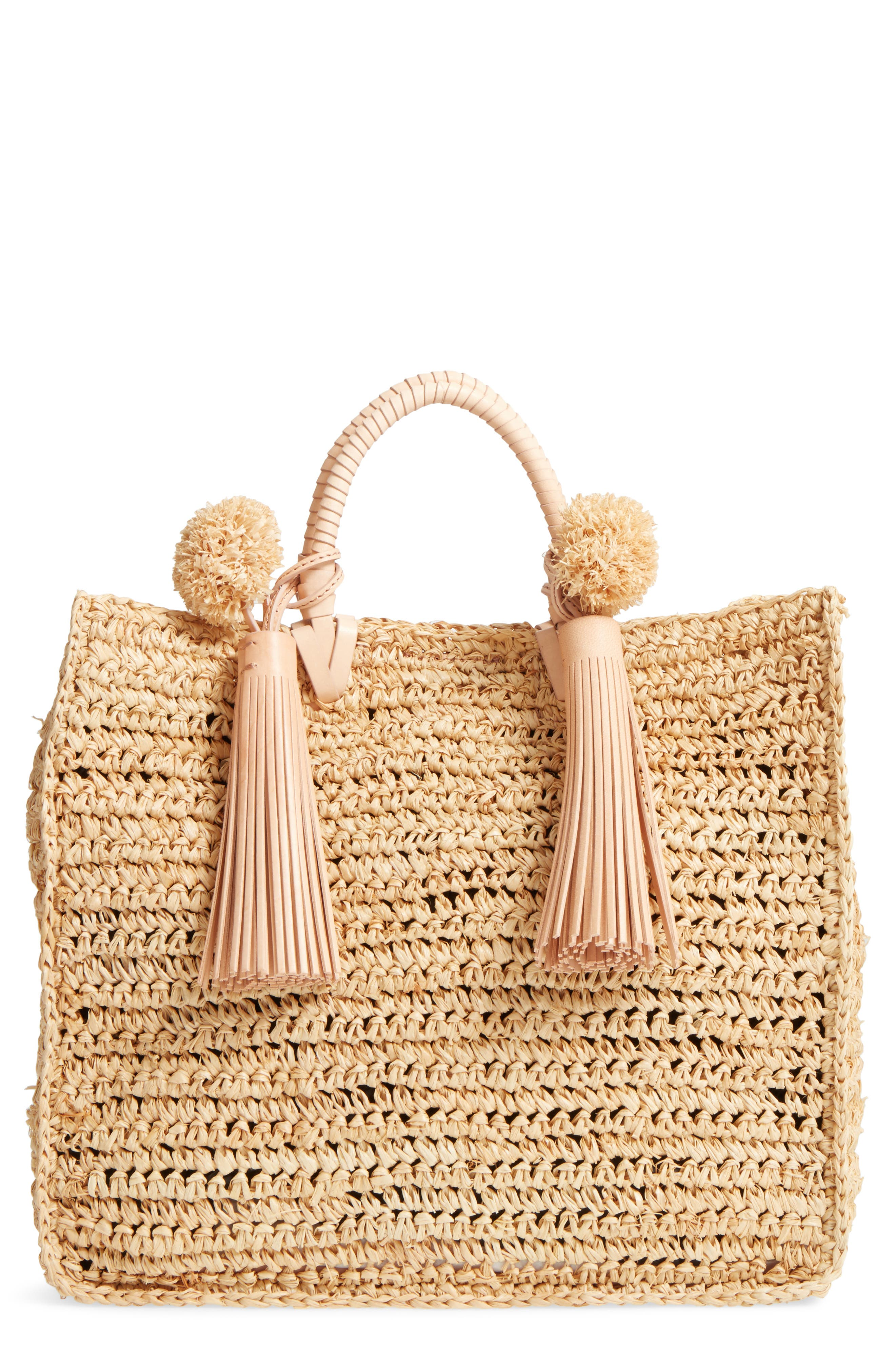 Straw Travel Tote,                         Main,                         color, 107