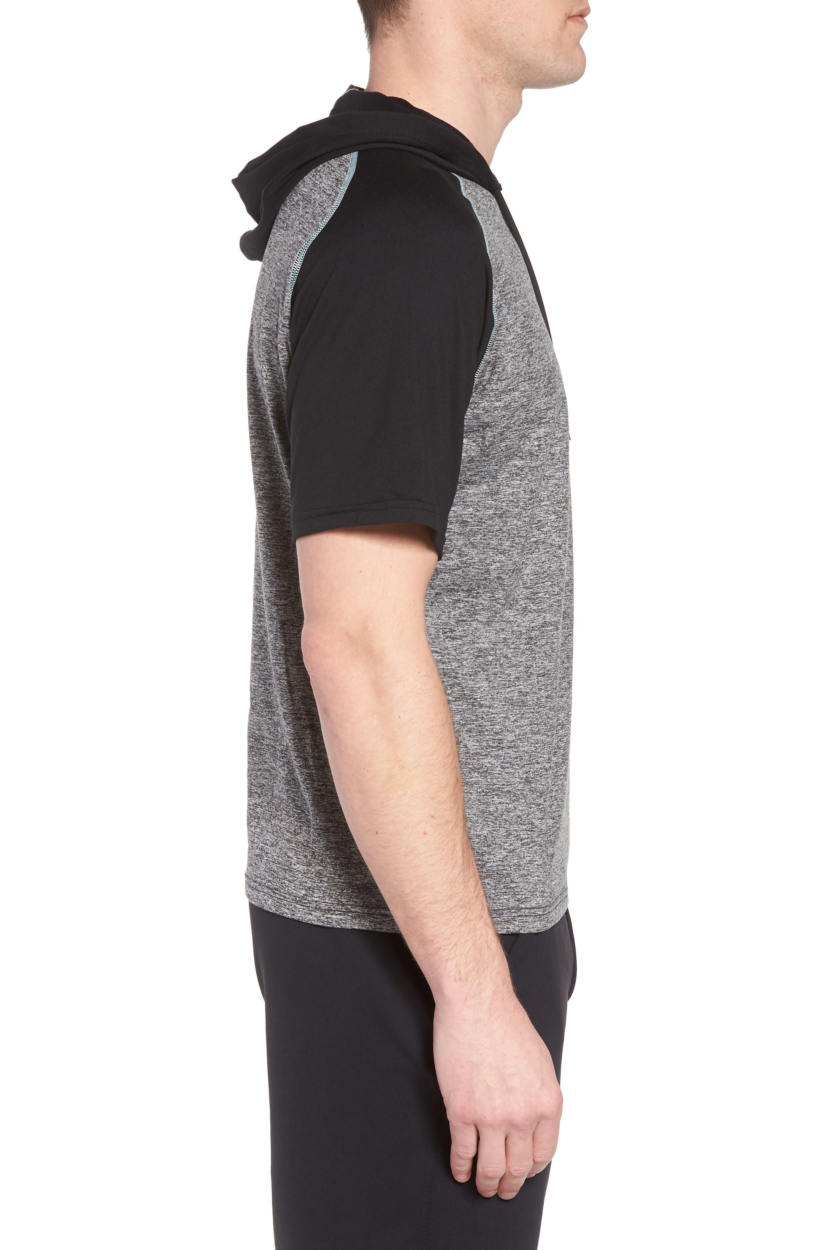 Quad Short Sleeve Hoodie,                             Alternate thumbnail 3, color,                             HEATHER BLACK/ BLACK/ MINT