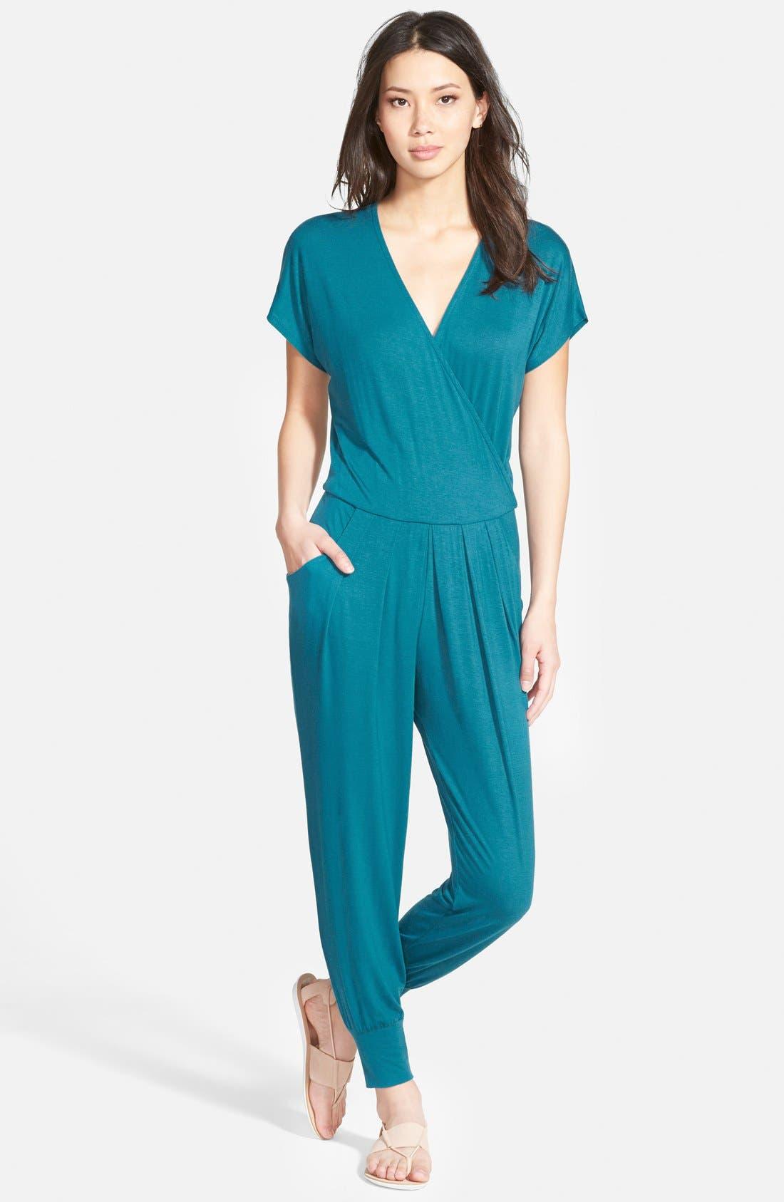 Short Sleeve Wrap Top Jumpsuit,                             Main thumbnail 4, color,