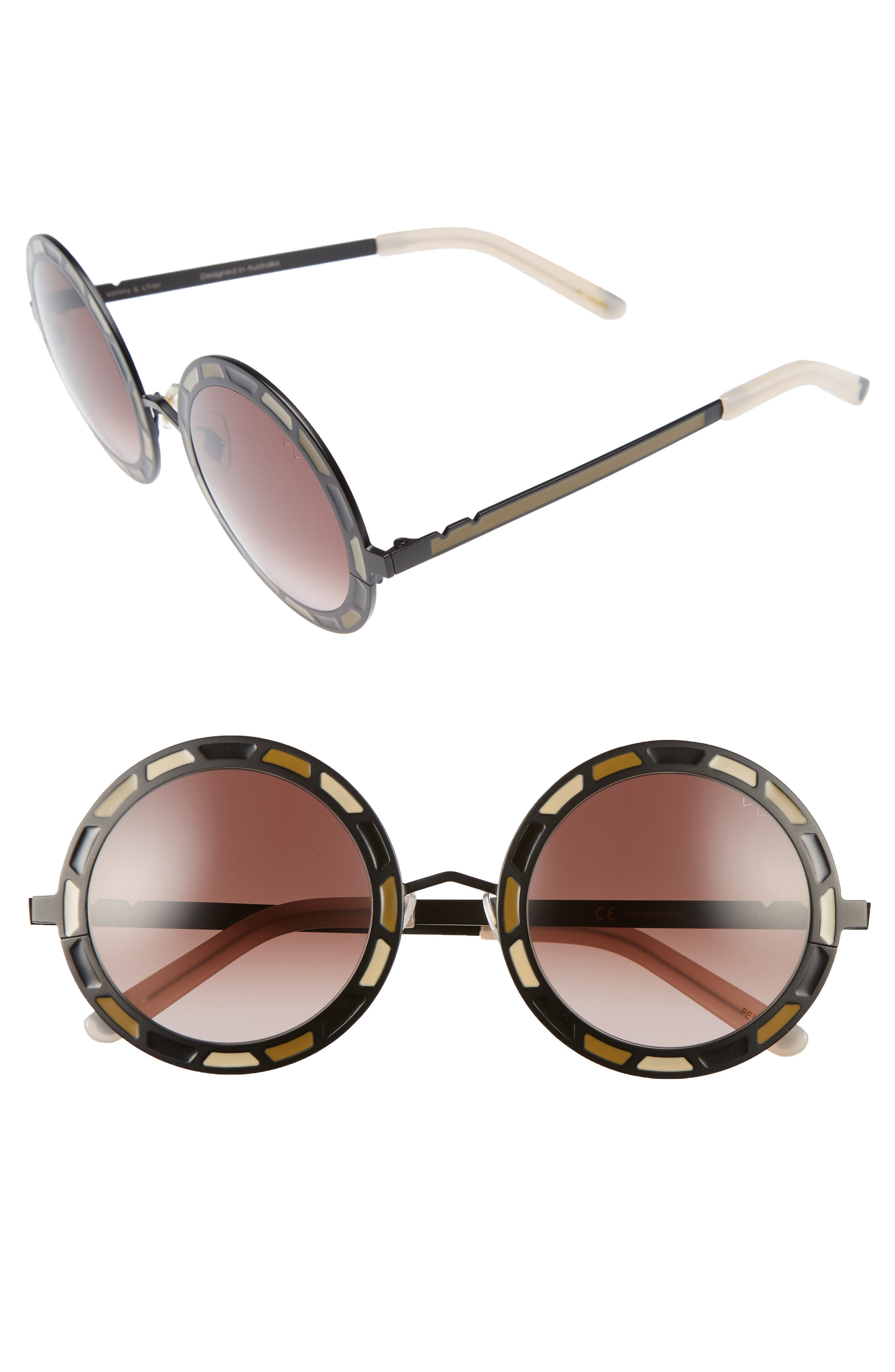 Sonny & Cher 50mm Round Sunglasses,                             Main thumbnail 1, color,                             001