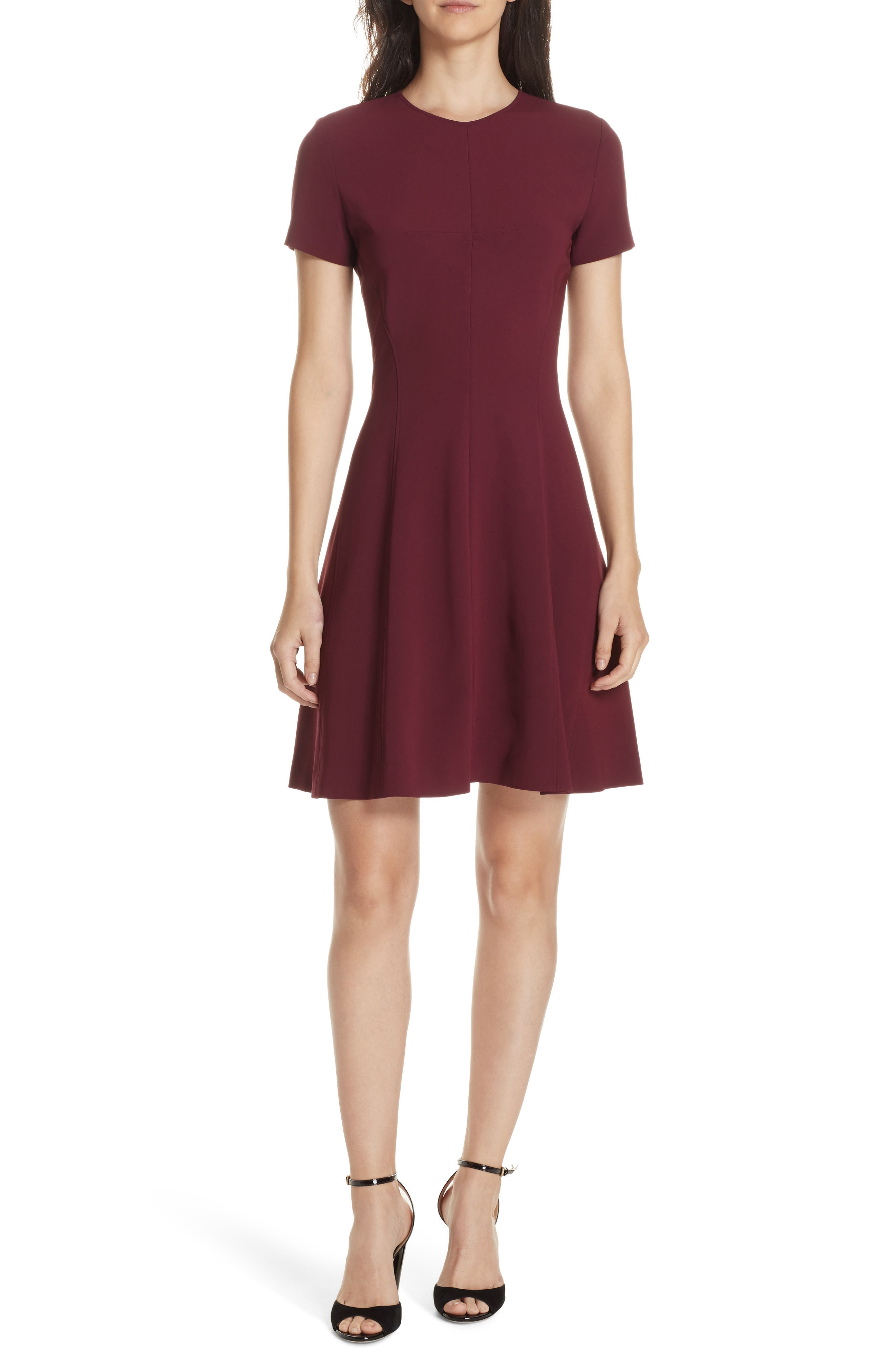 Modern Seamed Dress,                             Main thumbnail 1, color,                             DEEP MULBERRY