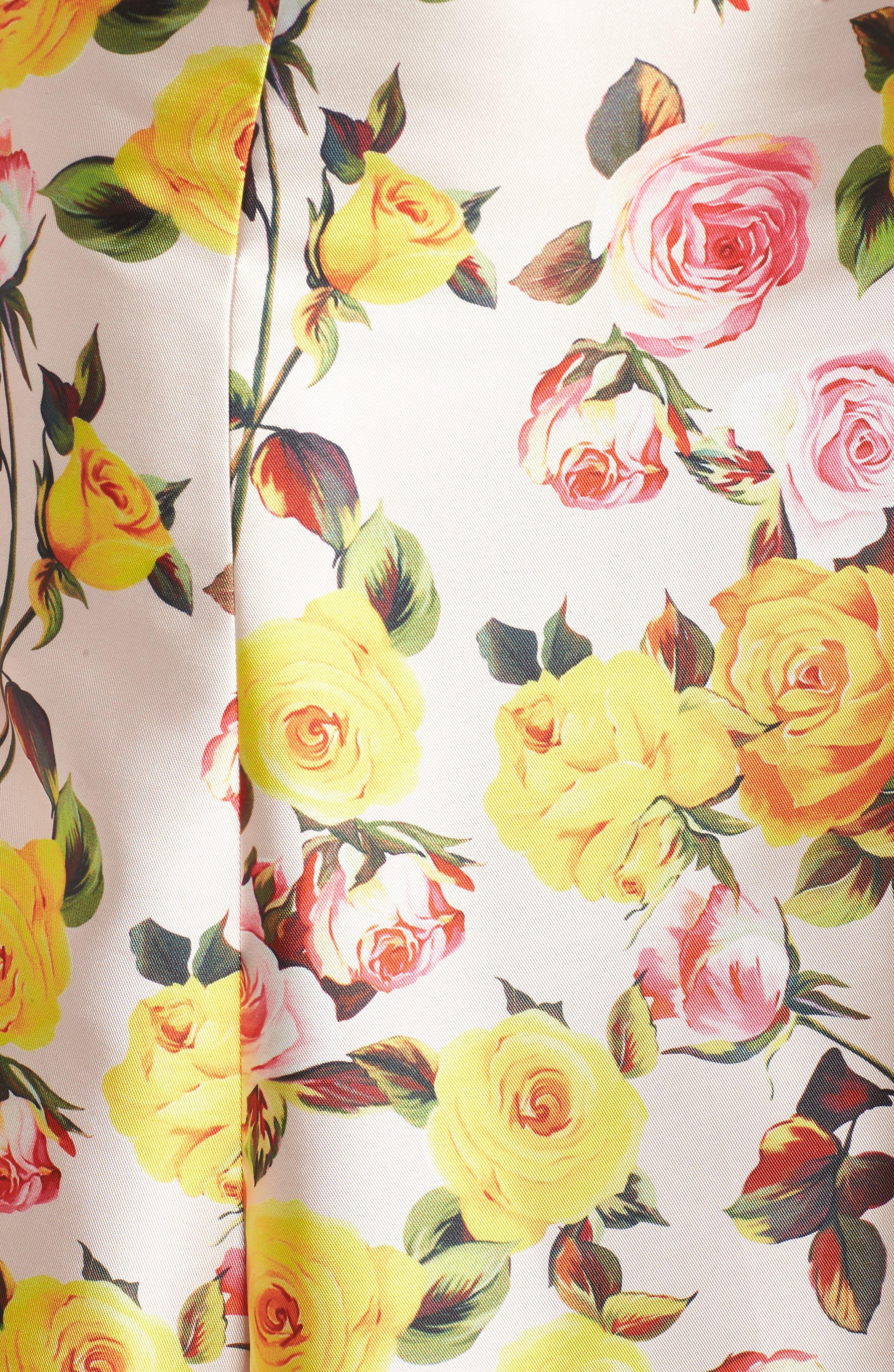 Floral Trumpet Gown,                             Alternate thumbnail 5, color,                             BLUSH FLORAL