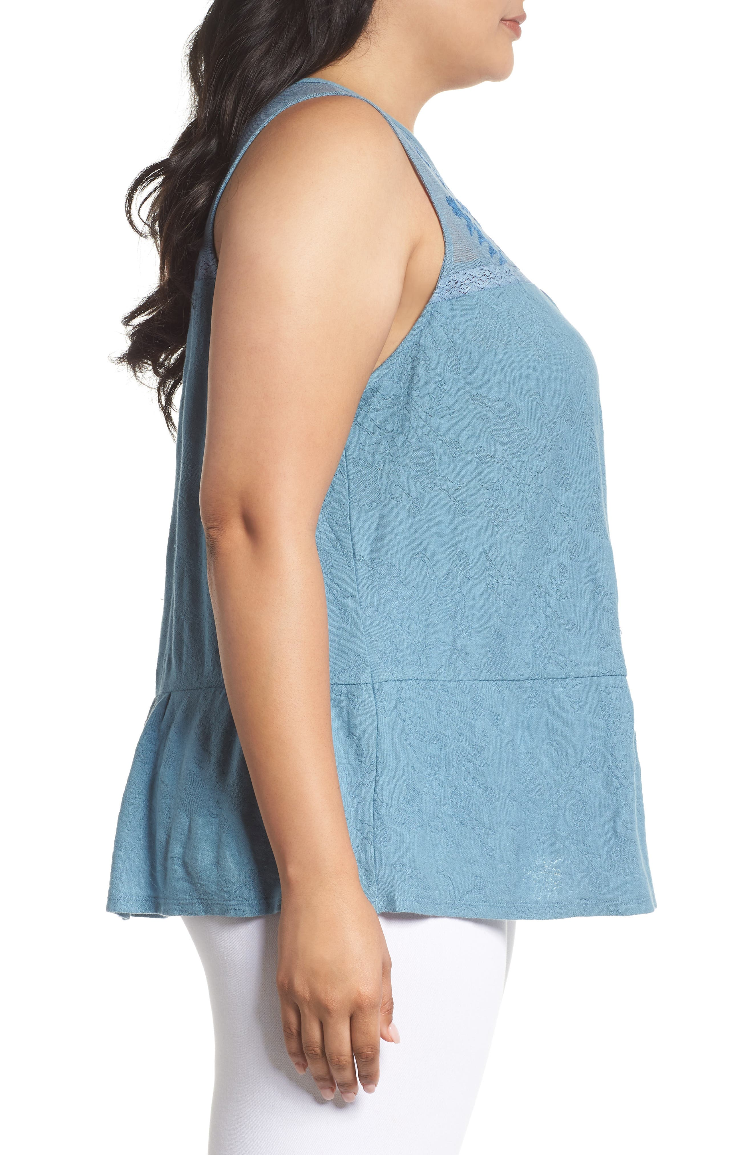 Lucky Tiered Jacquard Tank,                             Alternate thumbnail 7, color,
