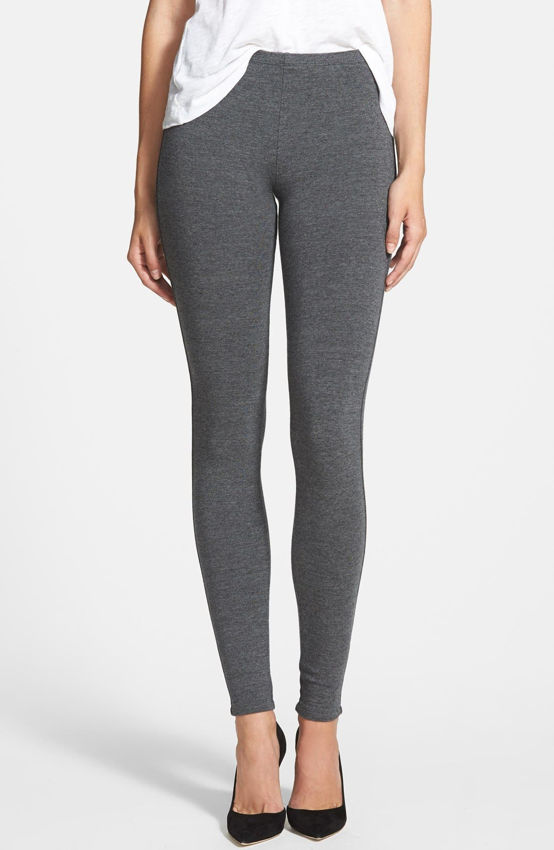 French Terry Leggings,                         Main,                         color, CHARCOAL