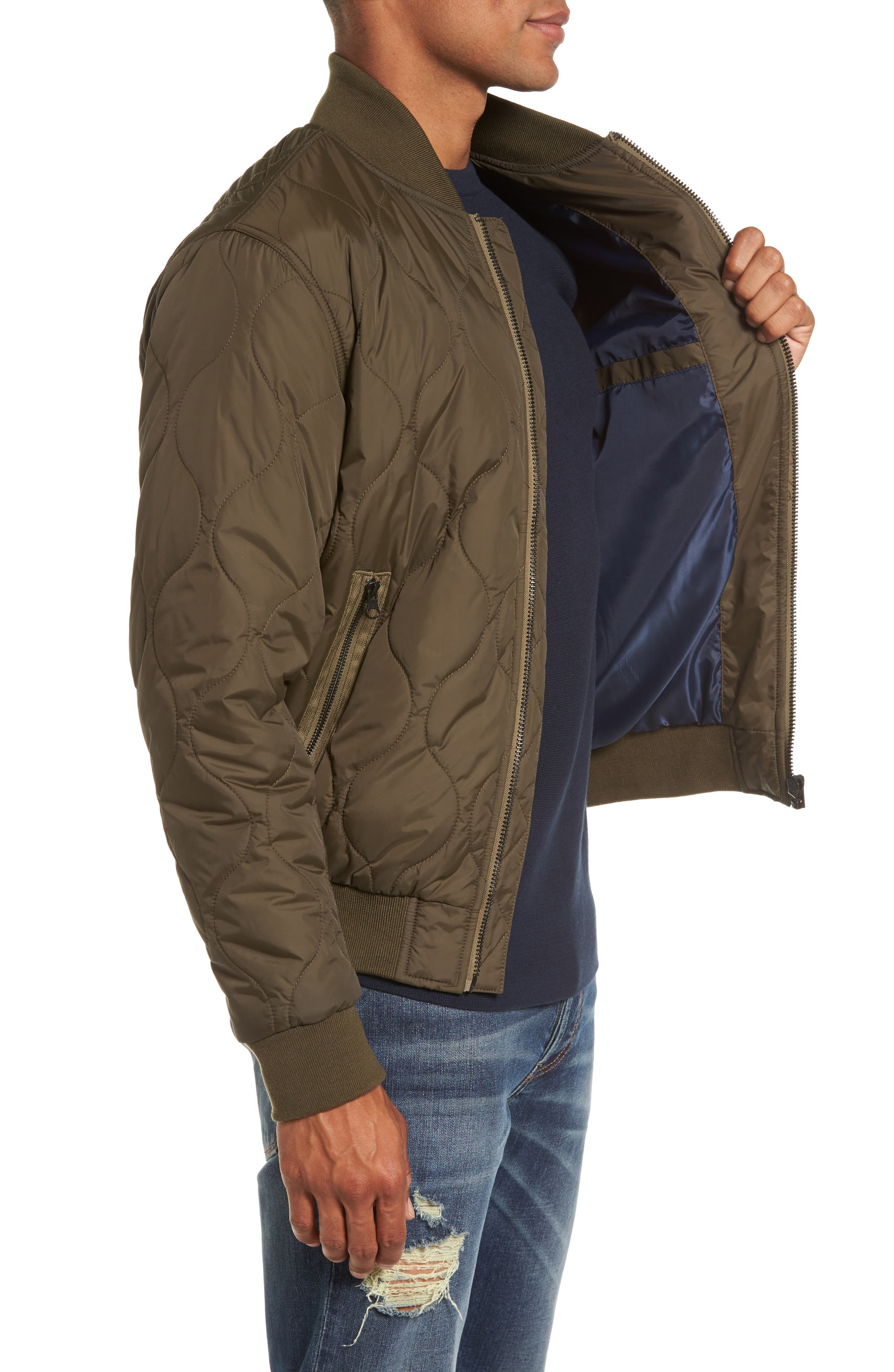 Regular Fit Quilted Bomber Jacket,                             Alternate thumbnail 3, color,