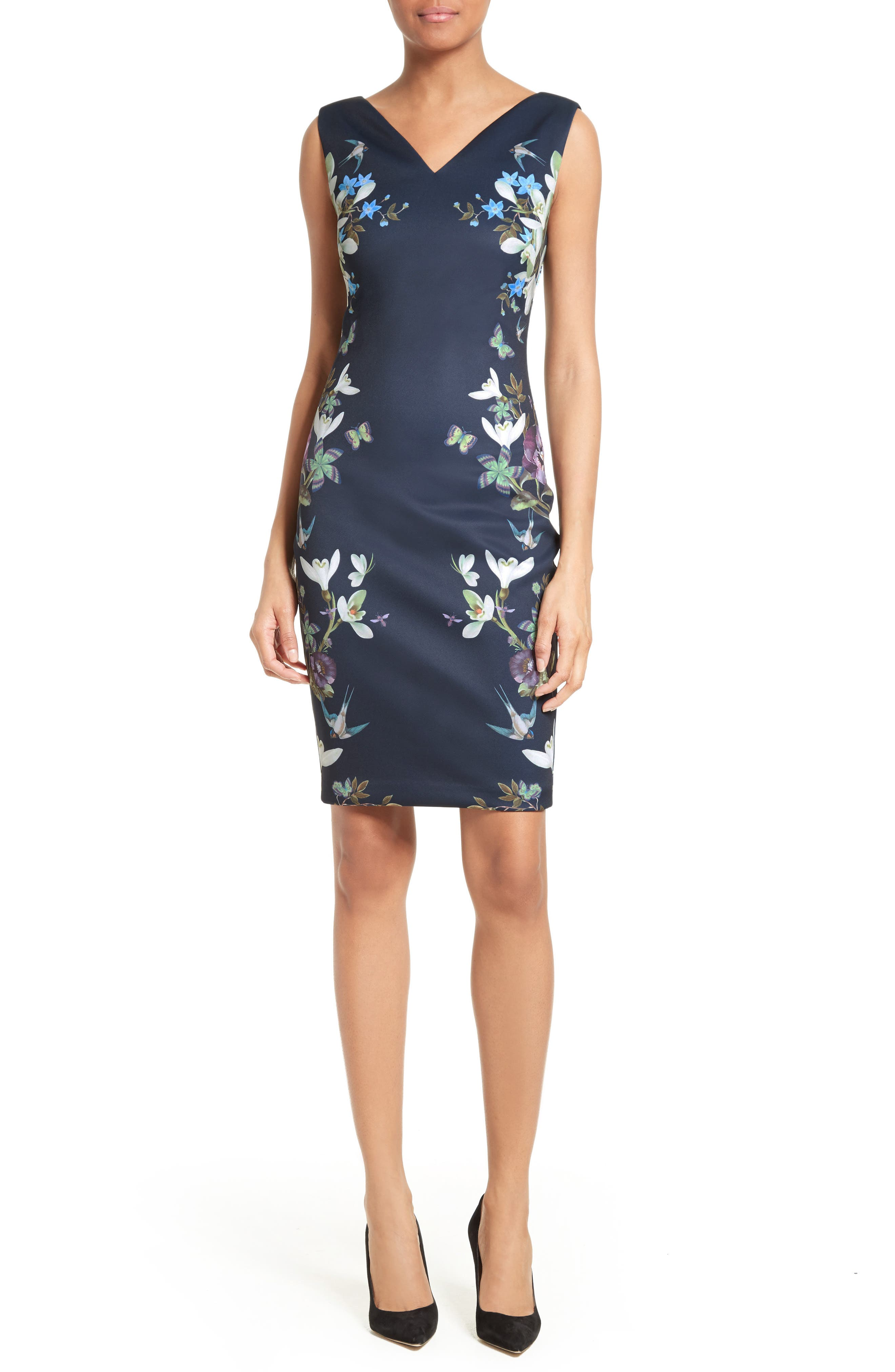 Katiey Placed Print Sheath Dress,                             Alternate thumbnail 5, color,                             402