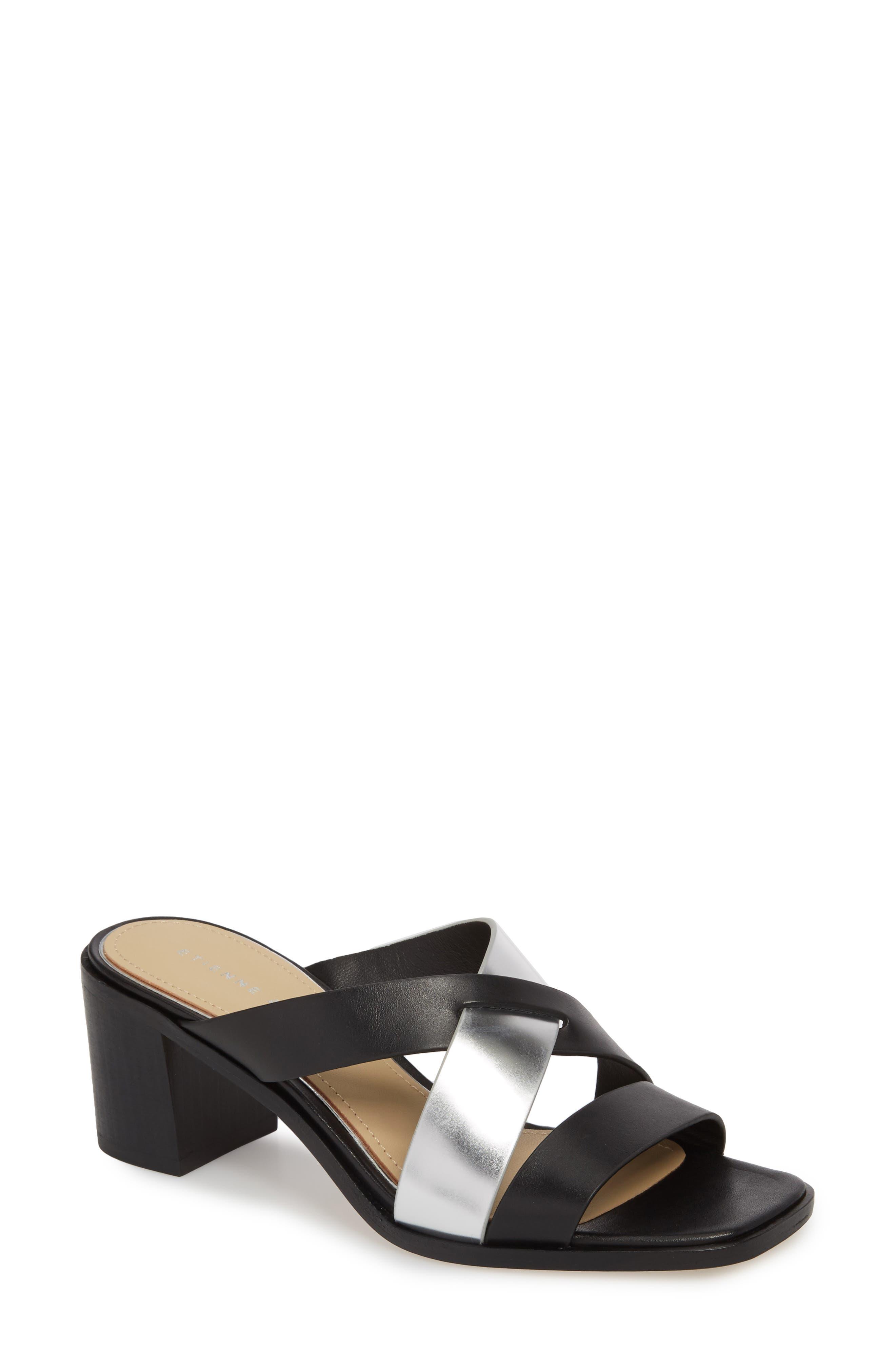 Negroni Cross Strap Mule Sandal,                         Main,                         color, BLACK/ SILVER LEATHER