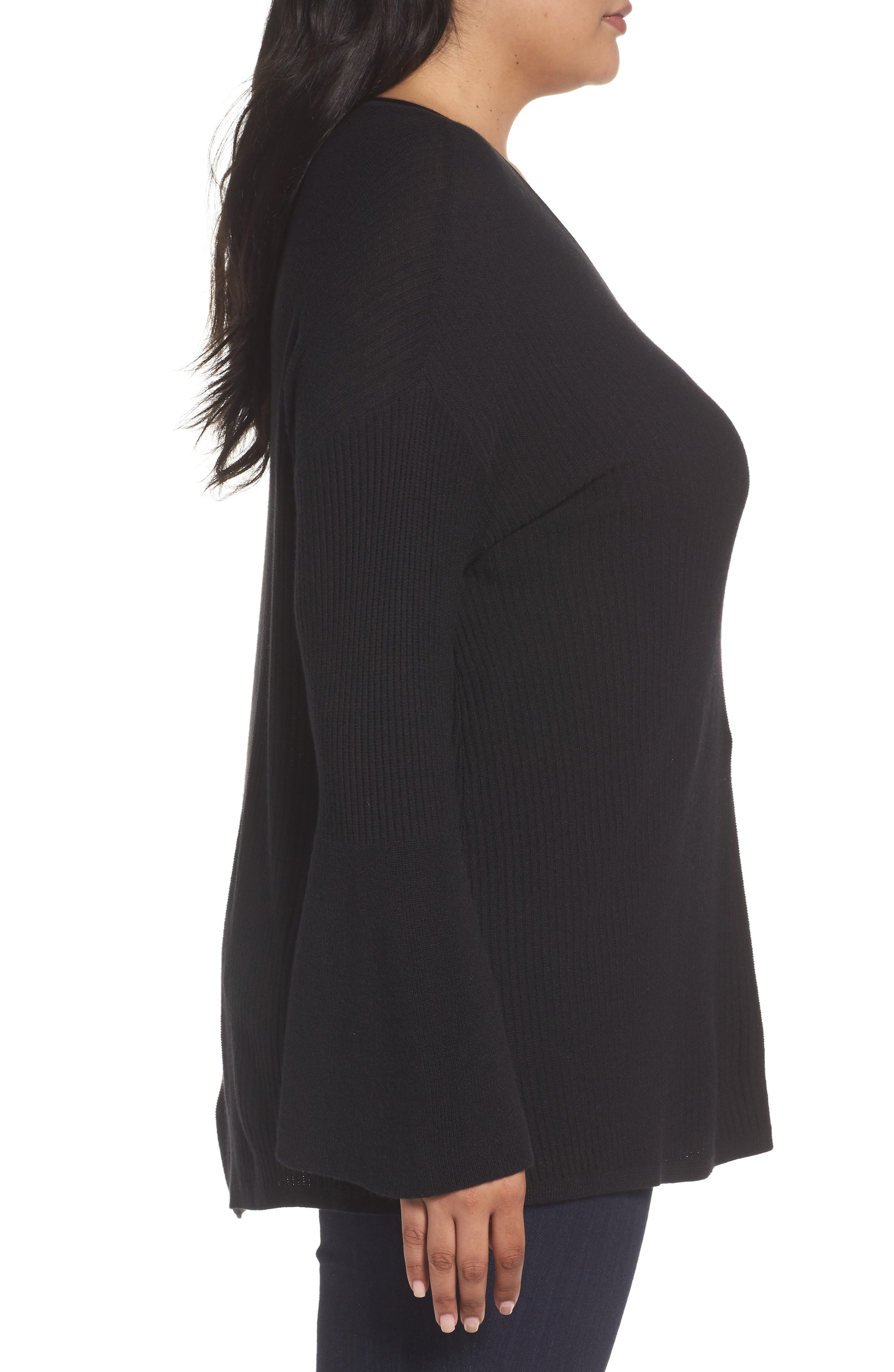 Ribbed Bell Sleeve Sweater,                             Alternate thumbnail 5, color,