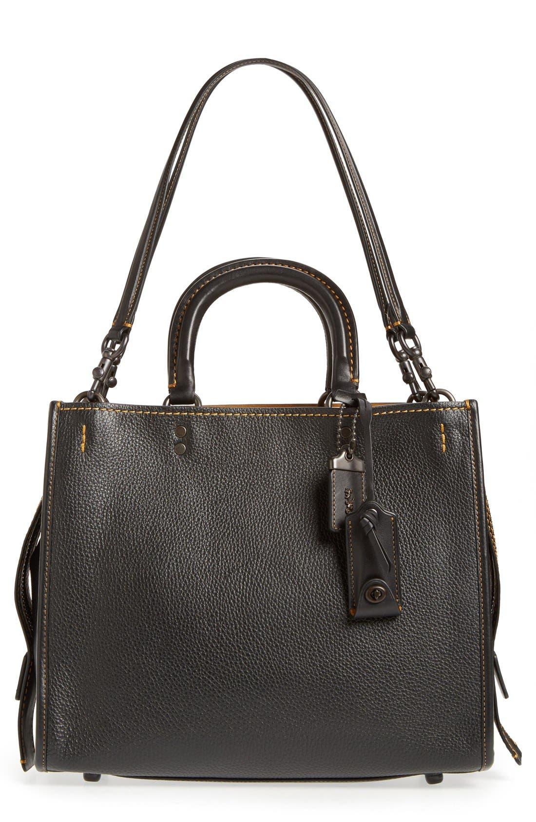 'Rogue' Leather Satchel,                         Main,                         color, BLACK/ GOLD