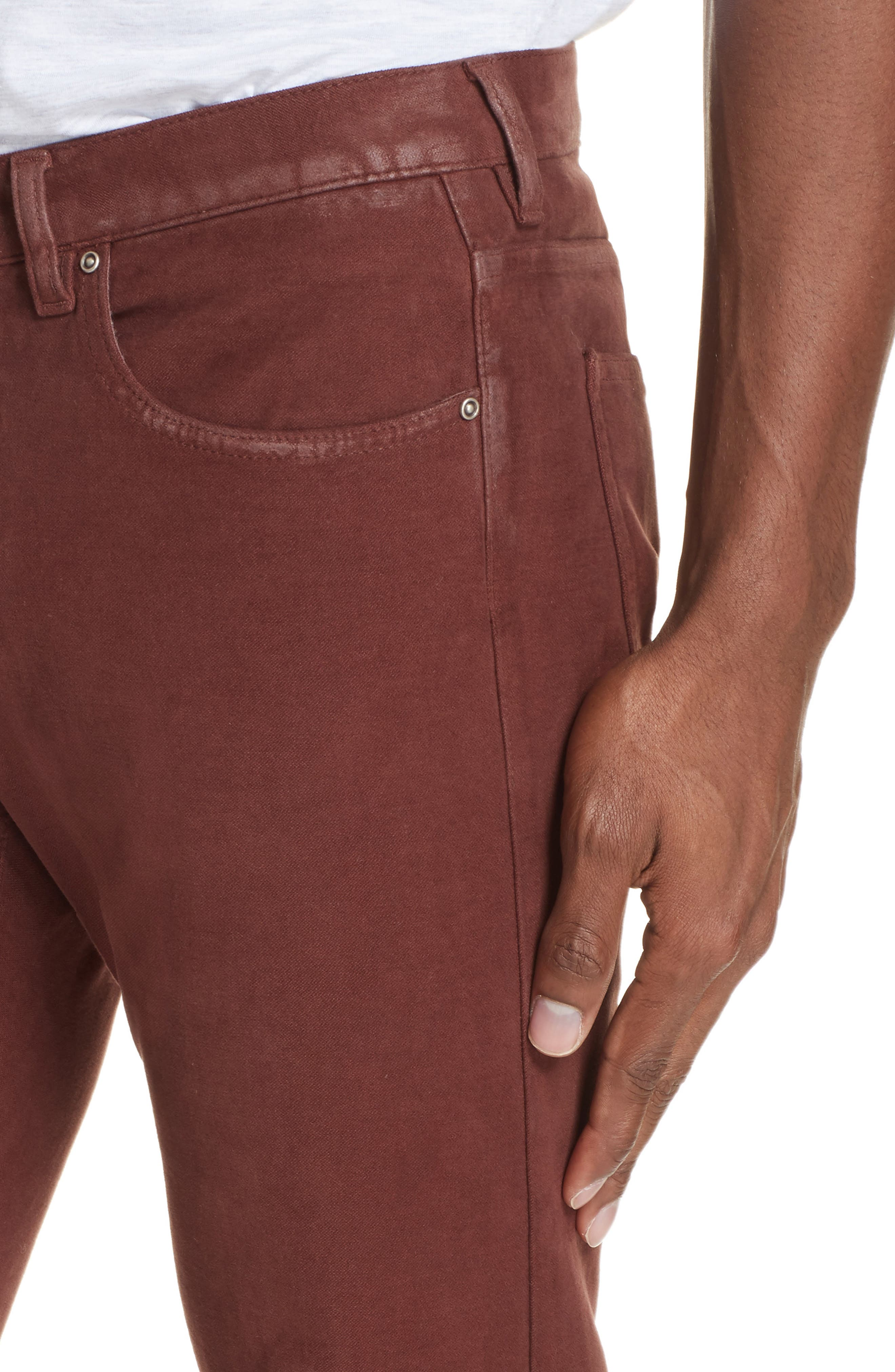 Slim Fit Stretch Cotton Five Pocket Trousers,                             Alternate thumbnail 4, color,                             OCHRE
