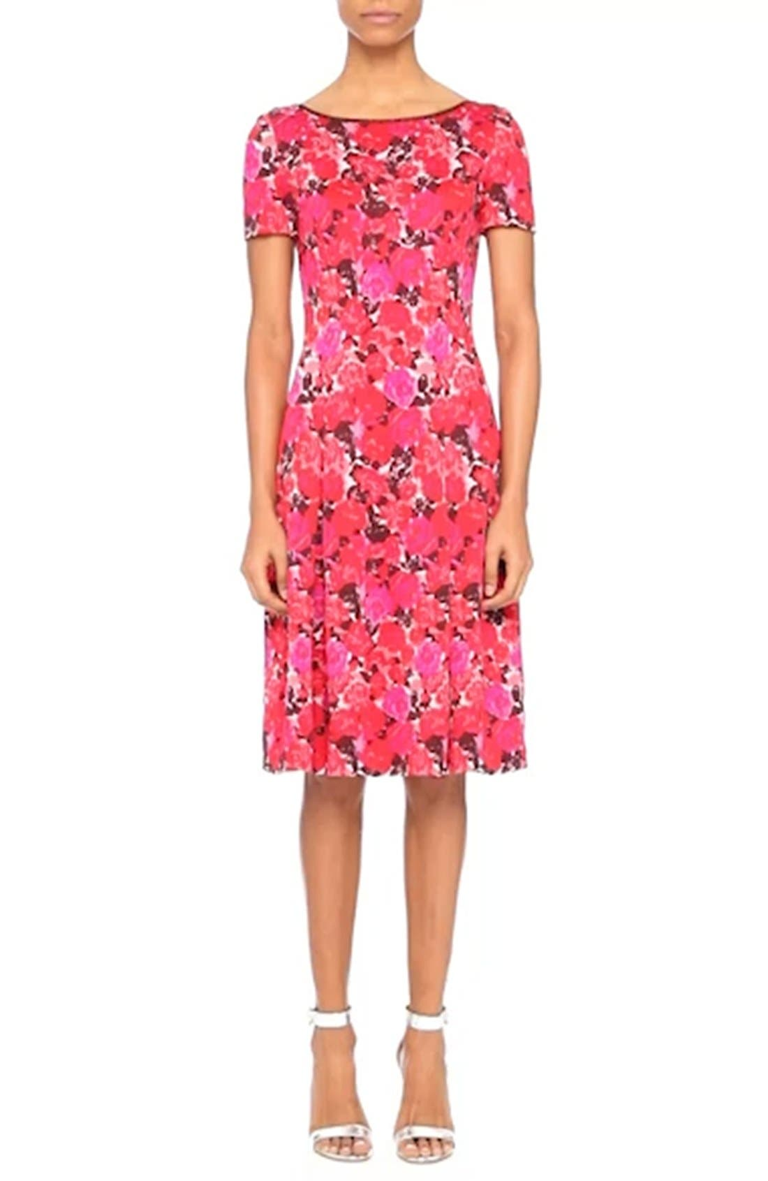 Indian Rose Blister Jacquard Dress,                             Alternate thumbnail 7, color,                             600