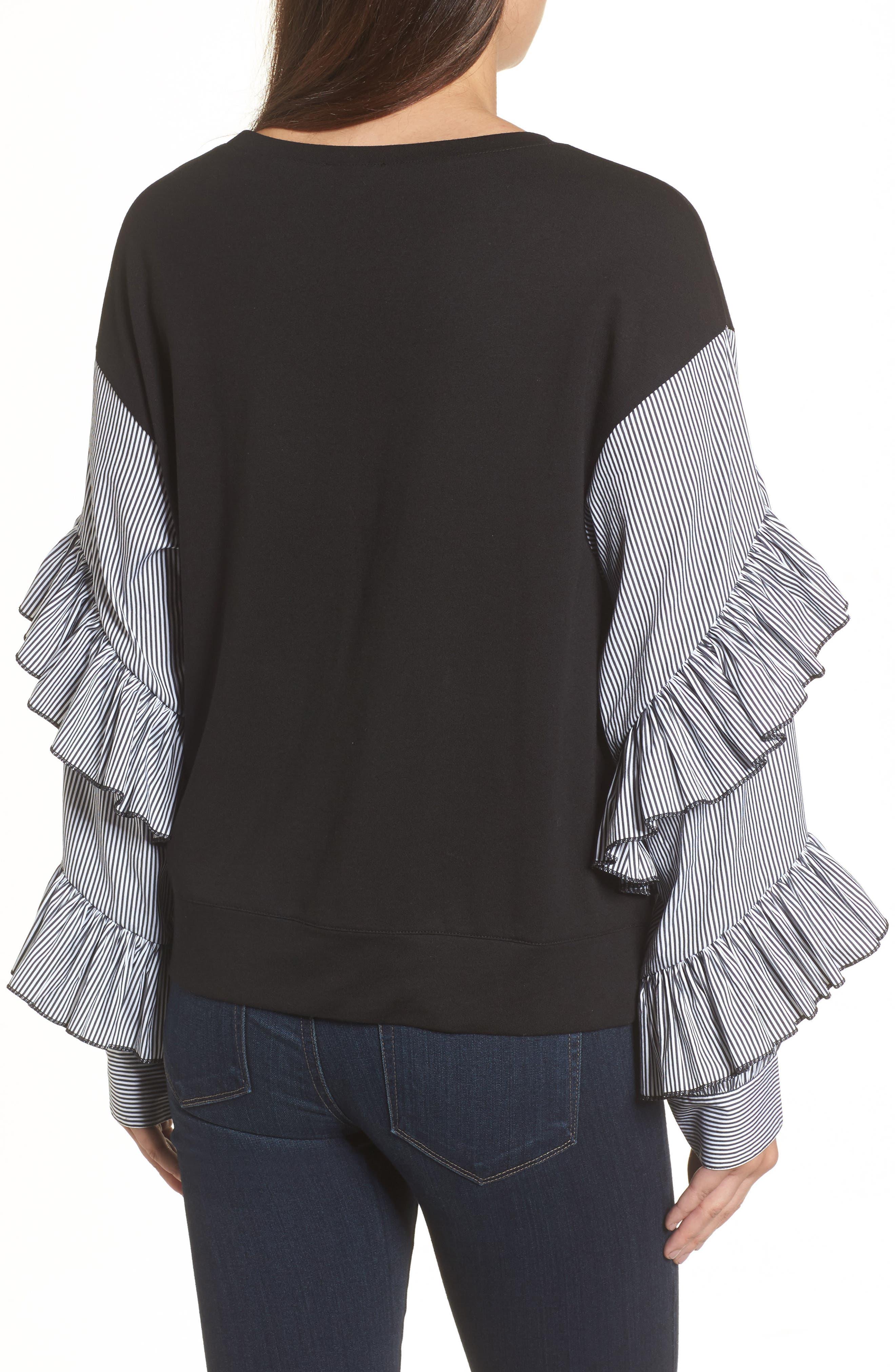 Poplin Ruffle Sleeve Sweatshirt,                             Alternate thumbnail 2, color,                             001
