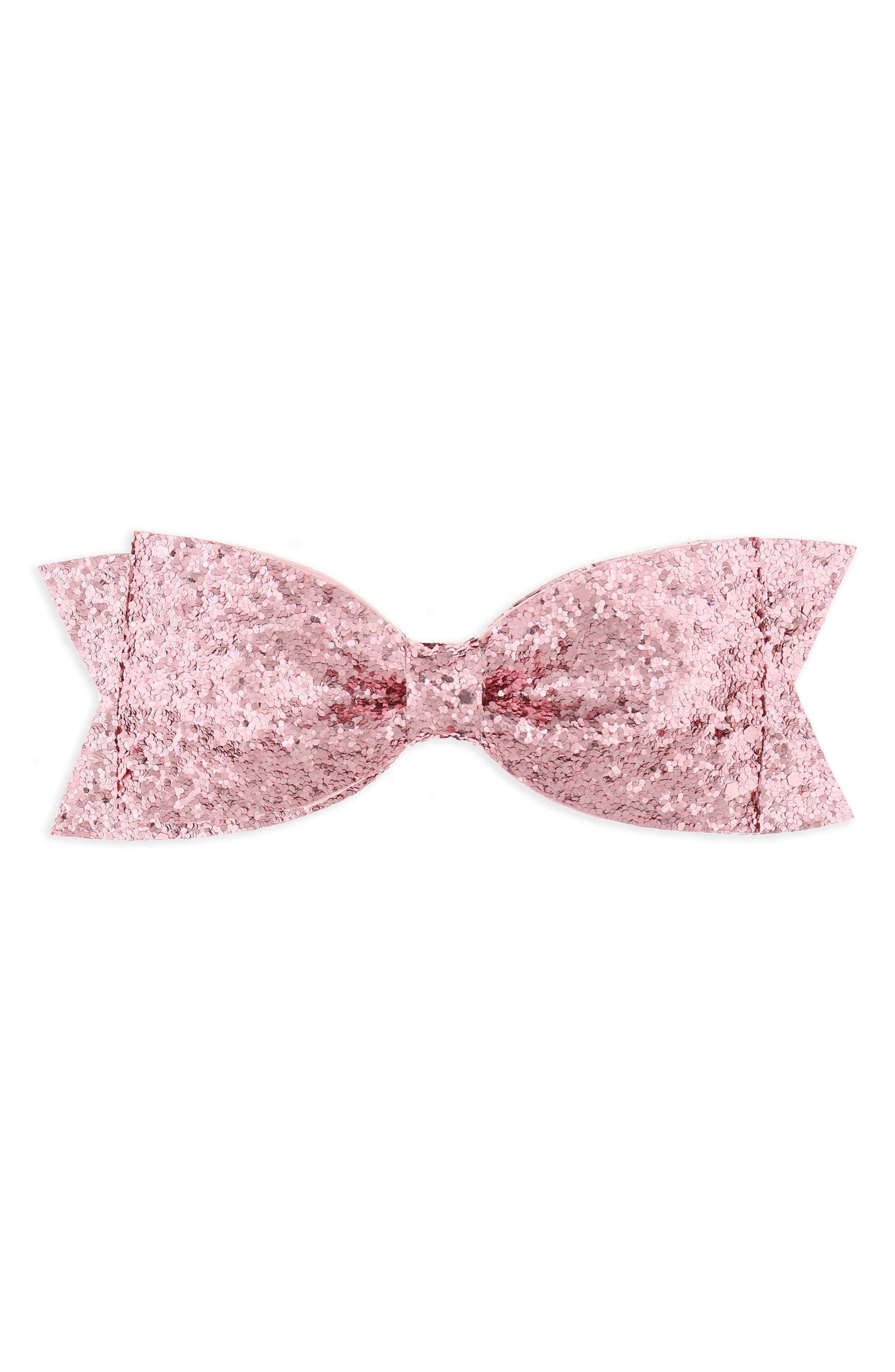 Glitter Bow Clip,                         Main,                         color, PINK