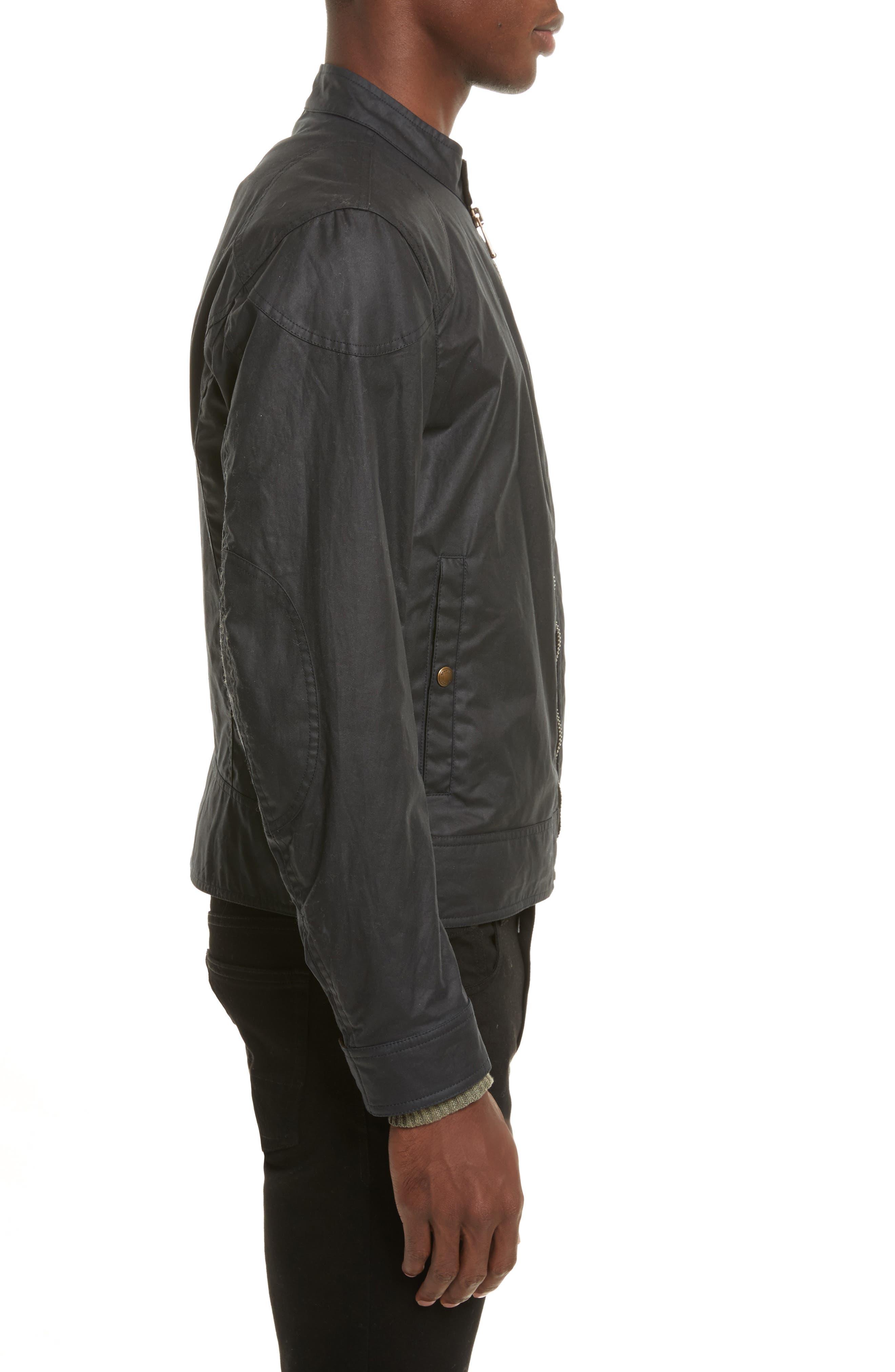 Kelland Coated Cotton Moto Jacket,                             Alternate thumbnail 3, color,                             DARK NAVY