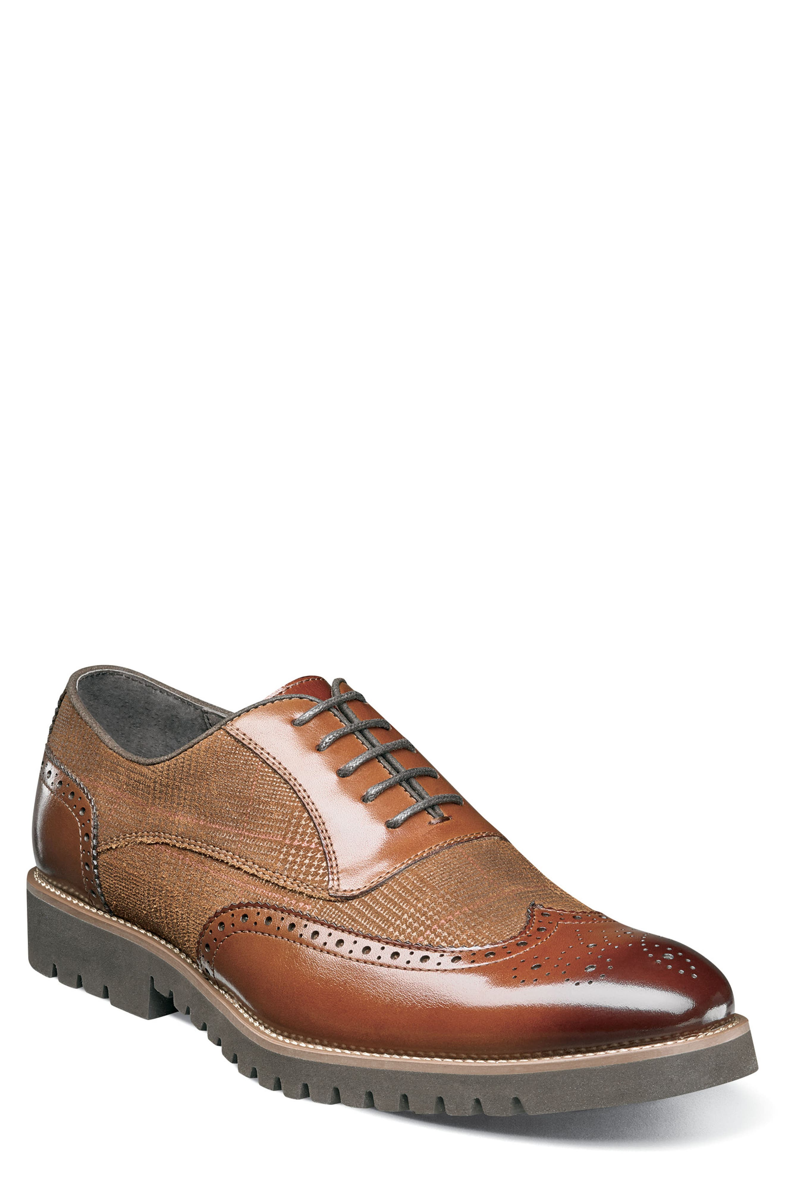 Men's 1950s Shoes Styles- Classics to Saddles to Rockabilly Mens Stacy Adams Baxley Glen Plaid Wingtip Size 14 M - Brown $105.00 AT vintagedancer.com