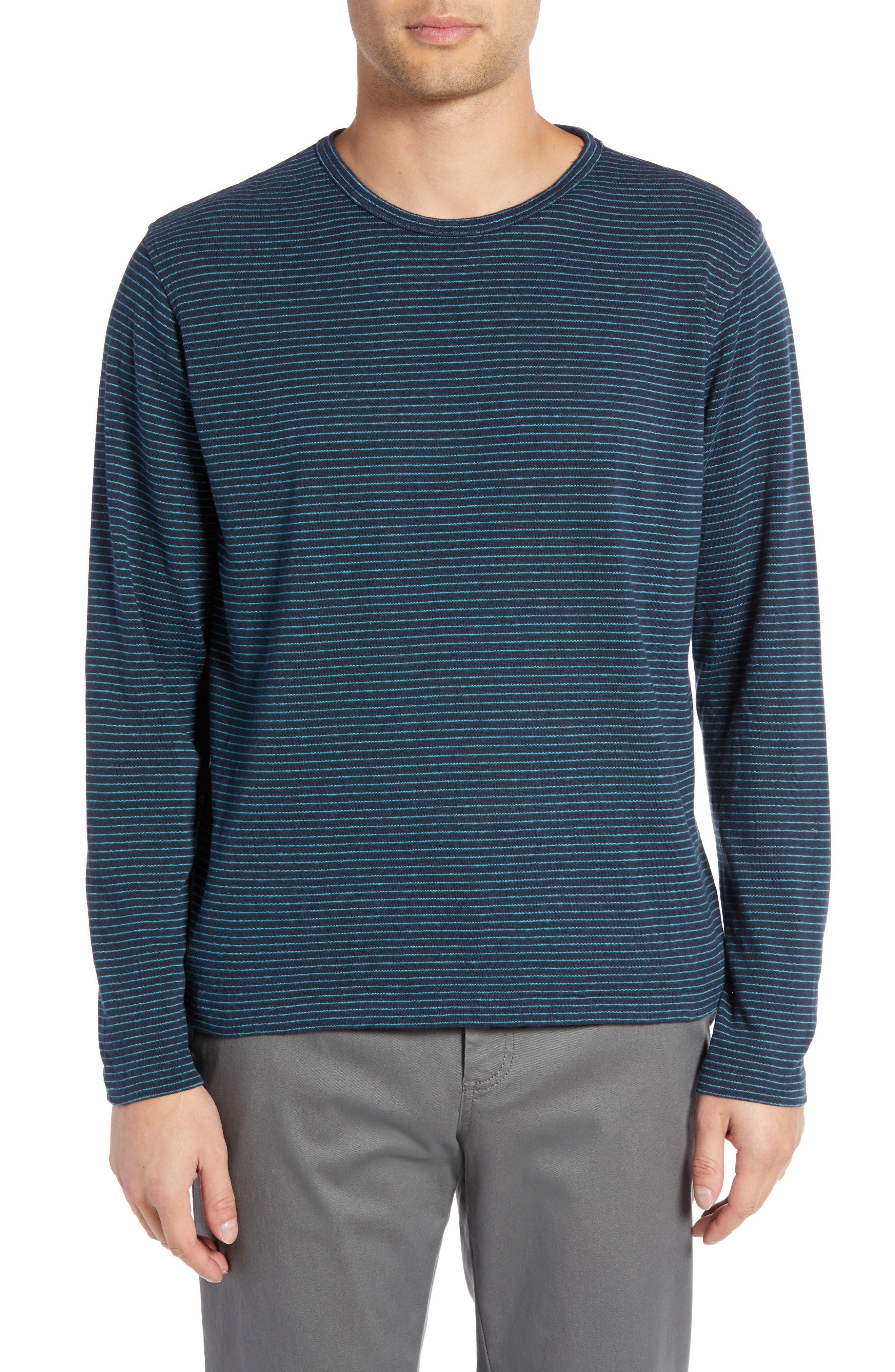 Narrow Stripe Long Sleeve T-Shirt,                             Main thumbnail 1, color,                             NAVY/ BLUE