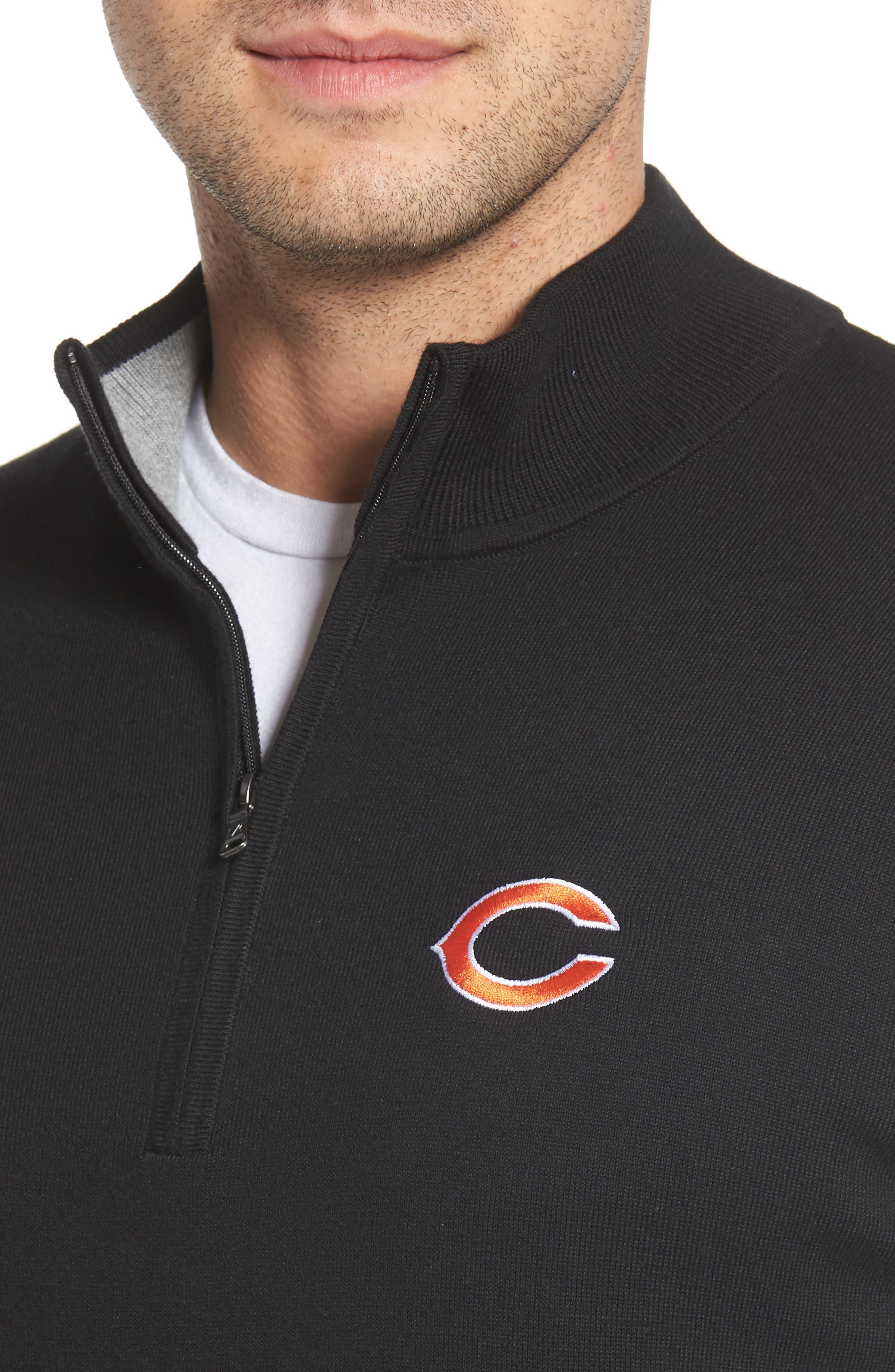 Chicago Bears - Lakemont Regular Fit Quarter Zip Sweater,                             Alternate thumbnail 4, color,                             BLACK