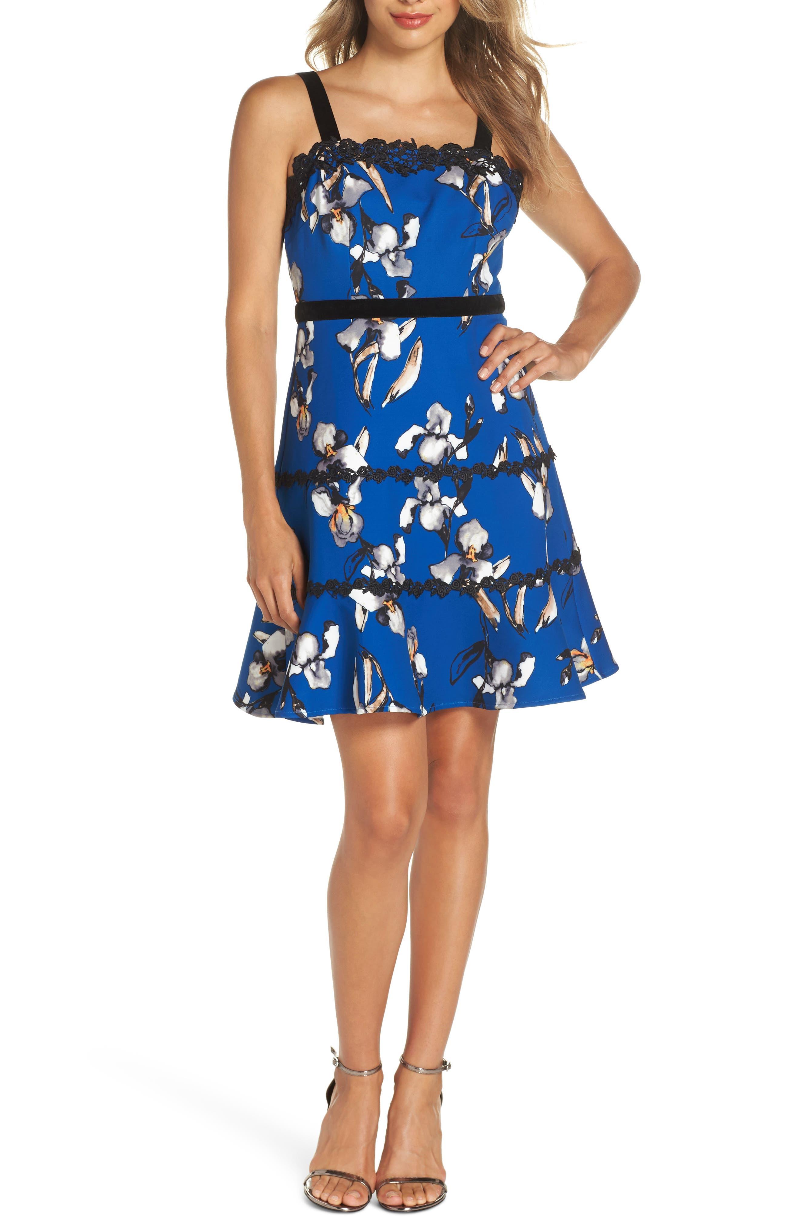 Carmella Lace Stripe Fit & Flare Dress, Main, color, CARMELLA MULTI