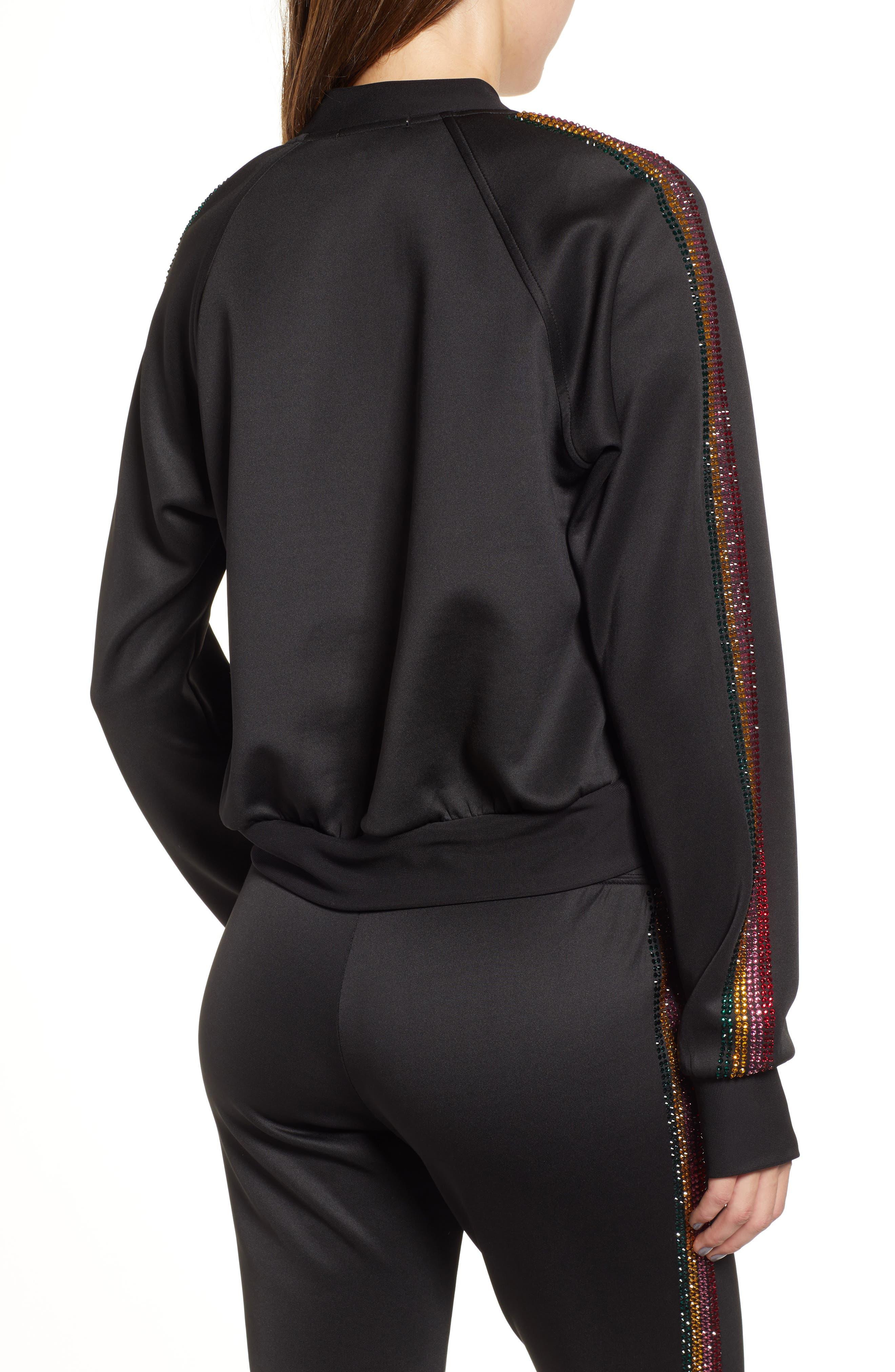 Sleeve Stripe Track Jacket,                             Alternate thumbnail 2, color,                             BLACK