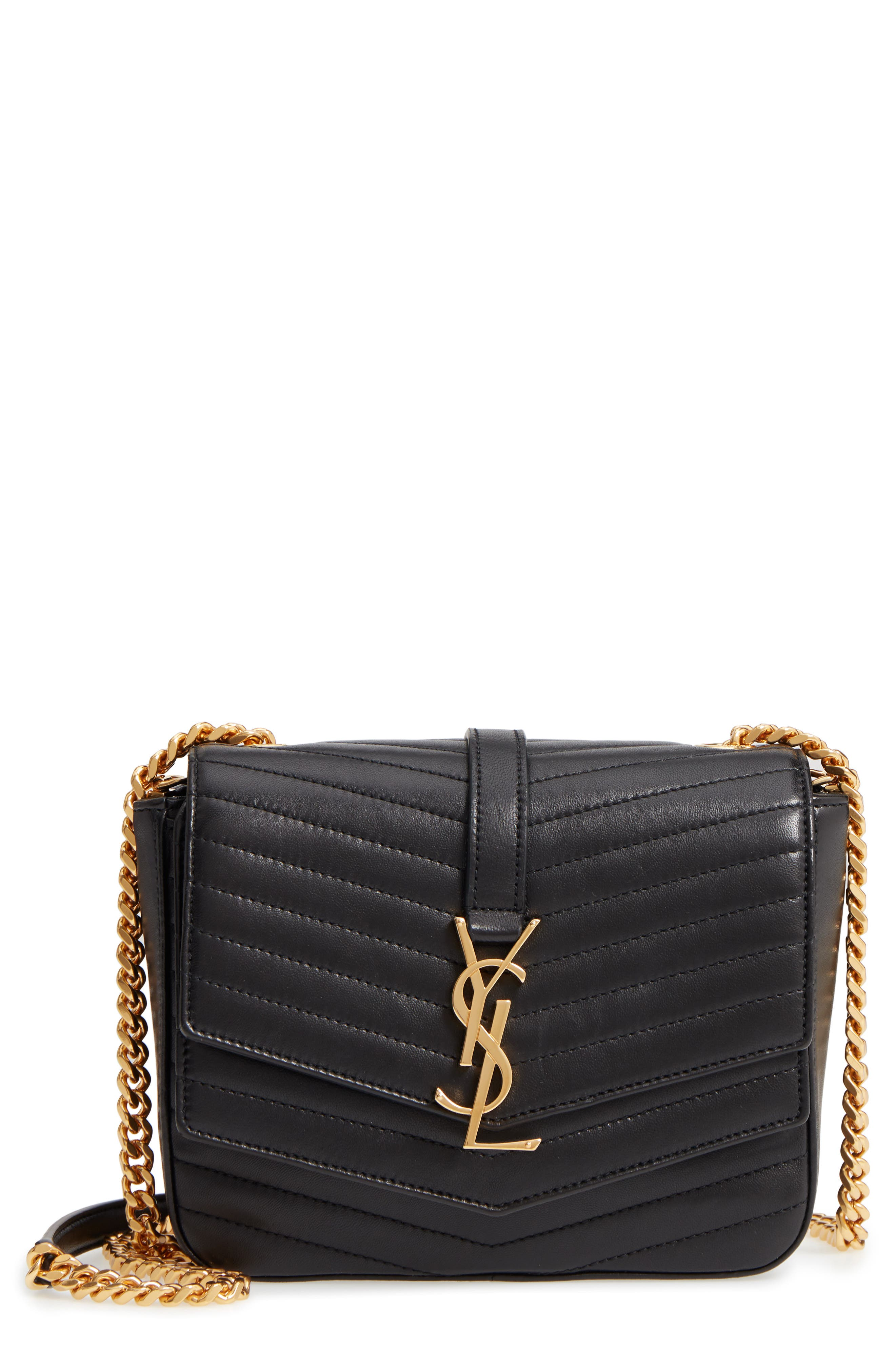 Montaigne Quilted Lambskin Crossbody Bag,                             Main thumbnail 1, color,                             NERO