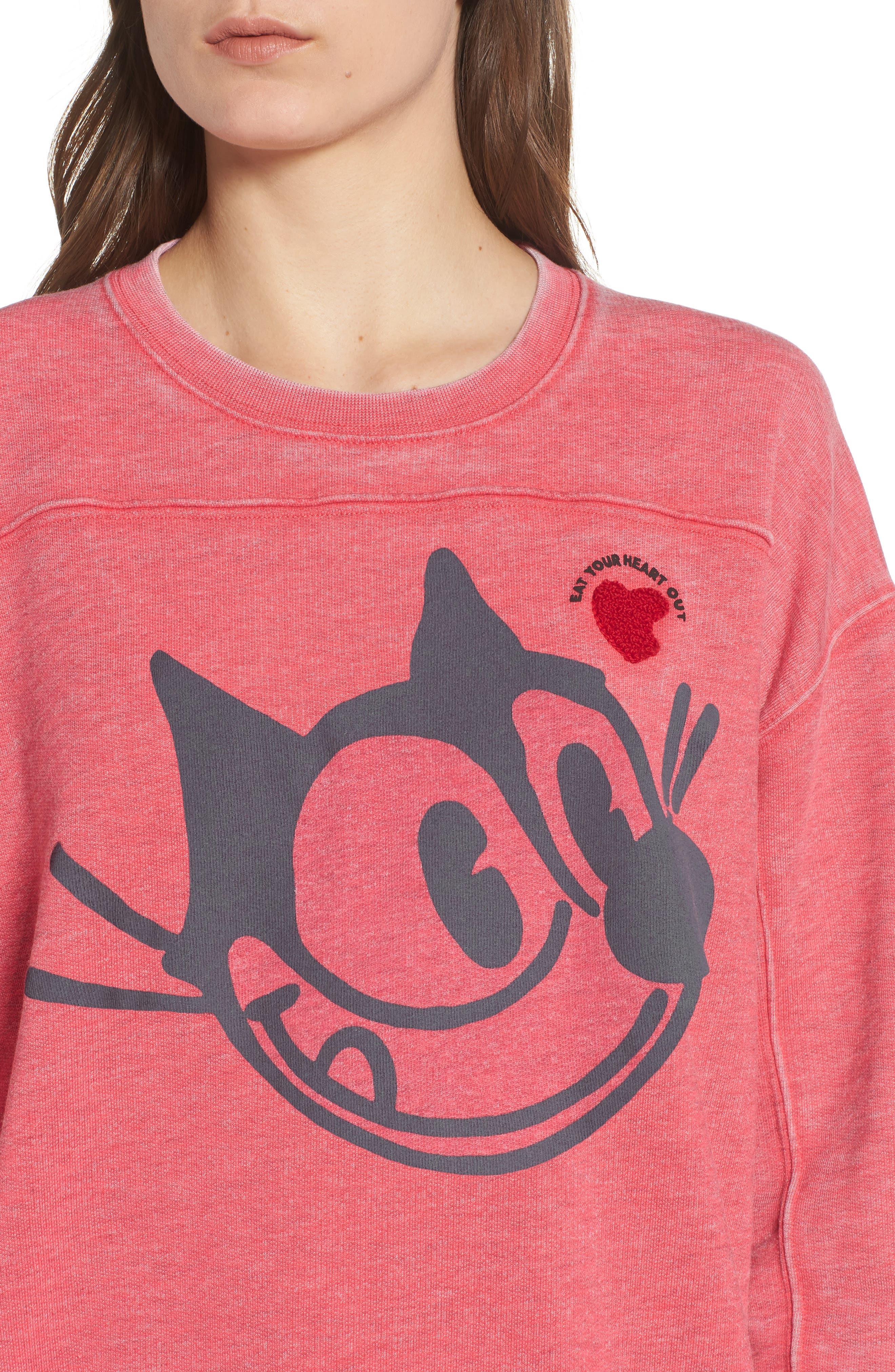 Felix x Scotch & Soda Burnout Appliqué & Graphic Sweatshirt,                             Alternate thumbnail 4, color,                             610