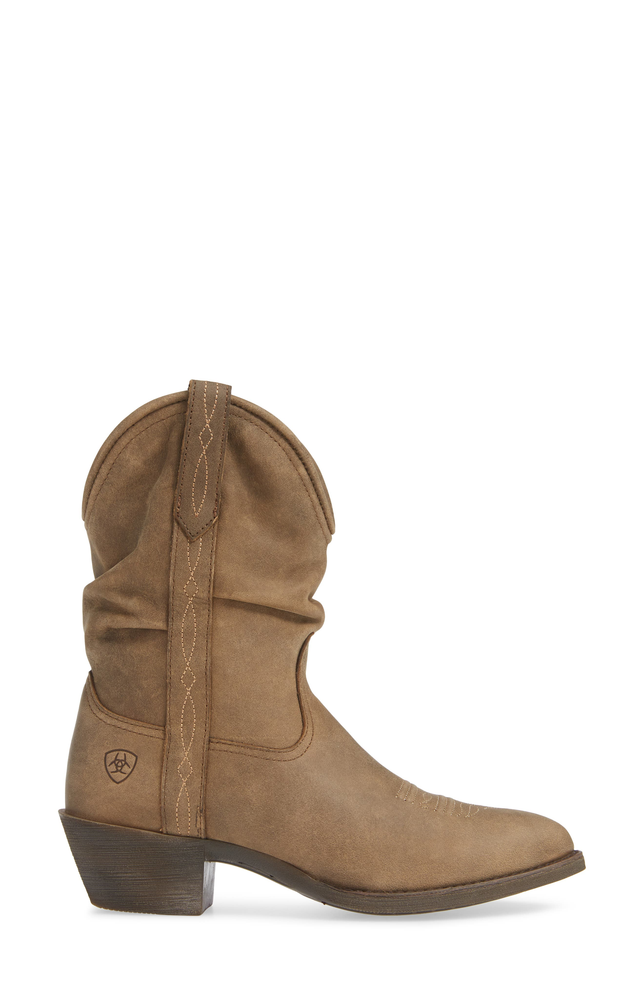 Reina Slouchy Western Boot,                             Alternate thumbnail 3, color,                             BROWN BOMBER LEATHER