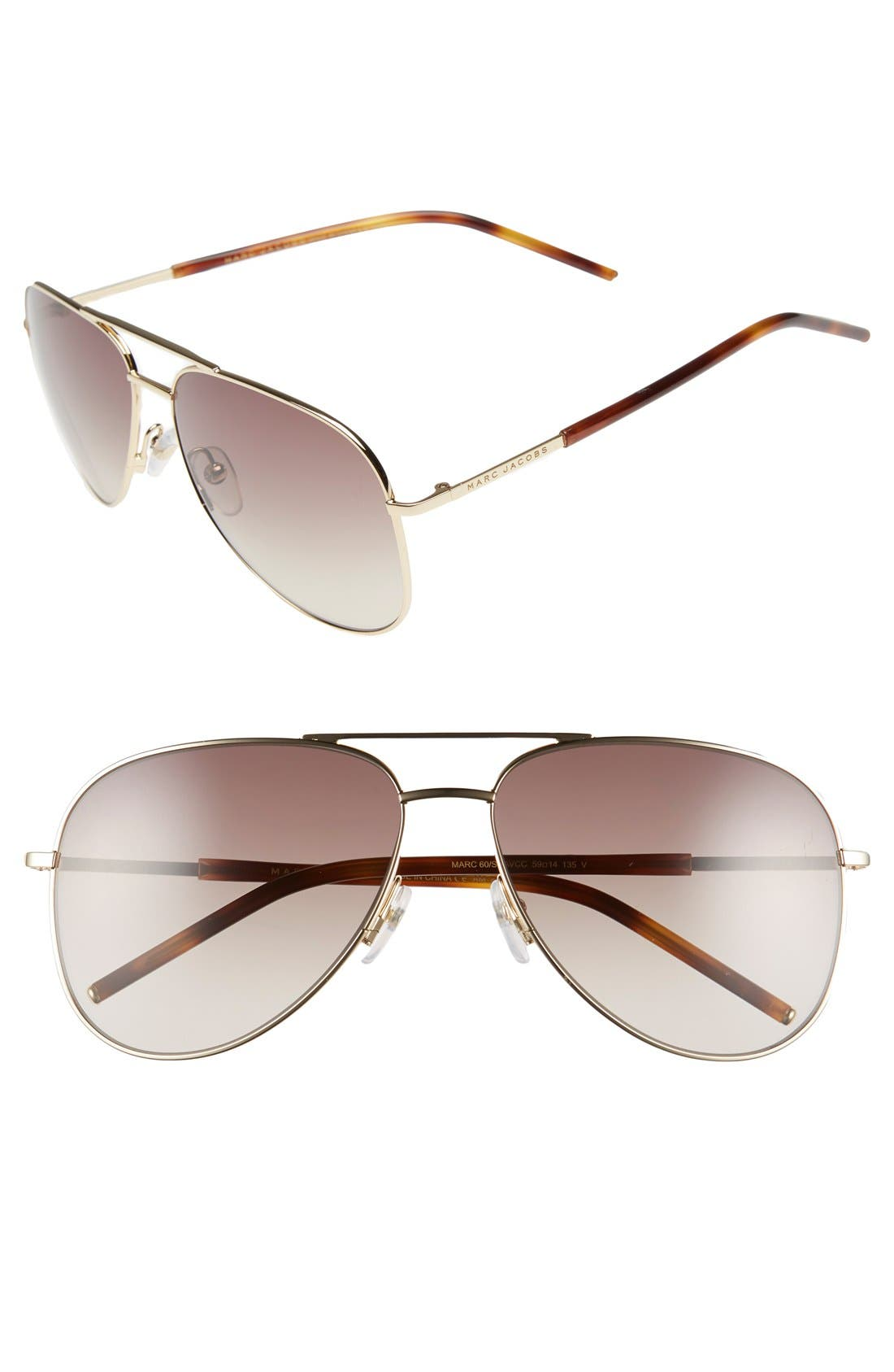 59mm Aviator Sunglasses,                             Main thumbnail 1, color,                             710