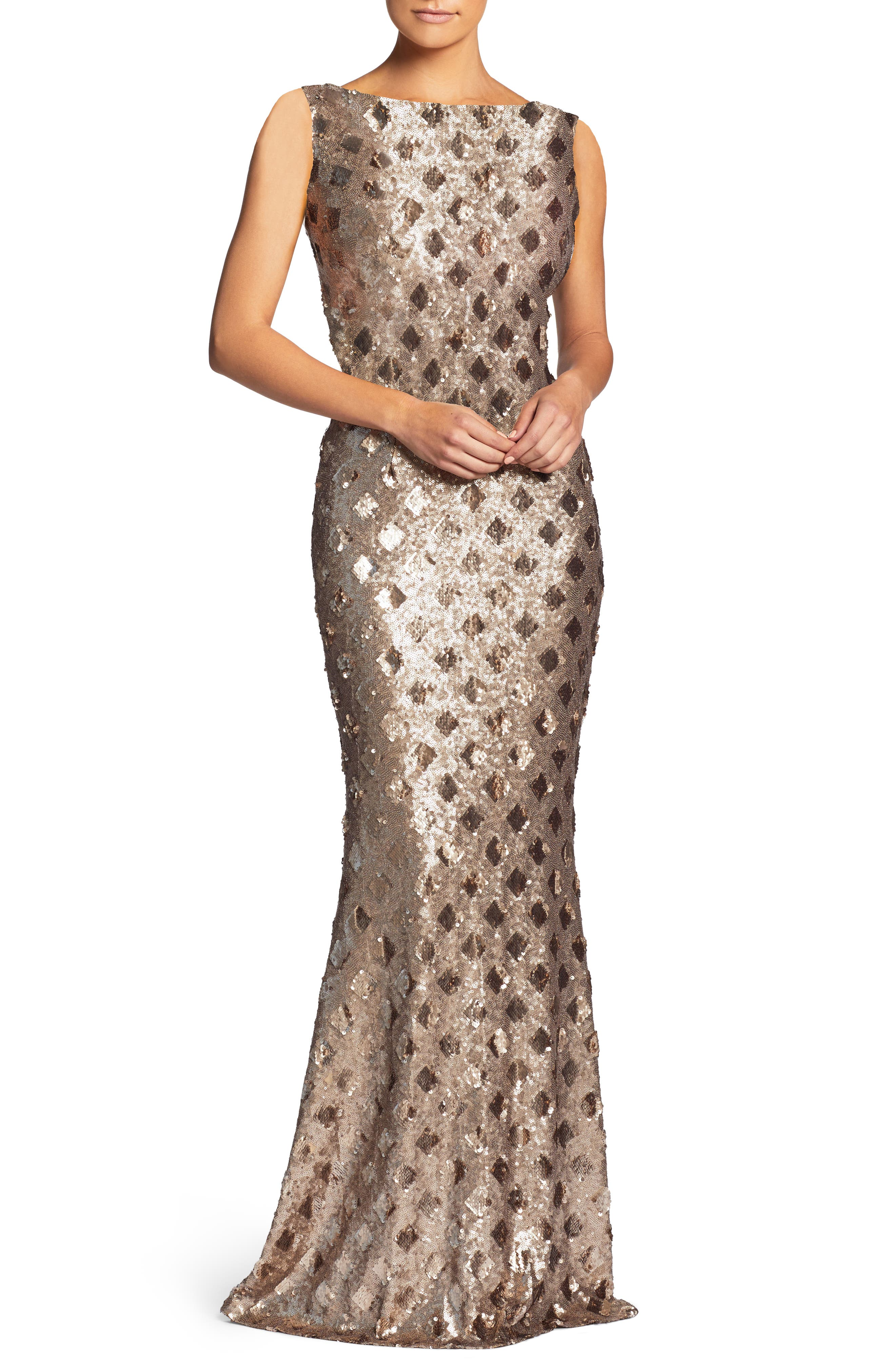 Dress The Population Yvette Sequin Trumpet Gown