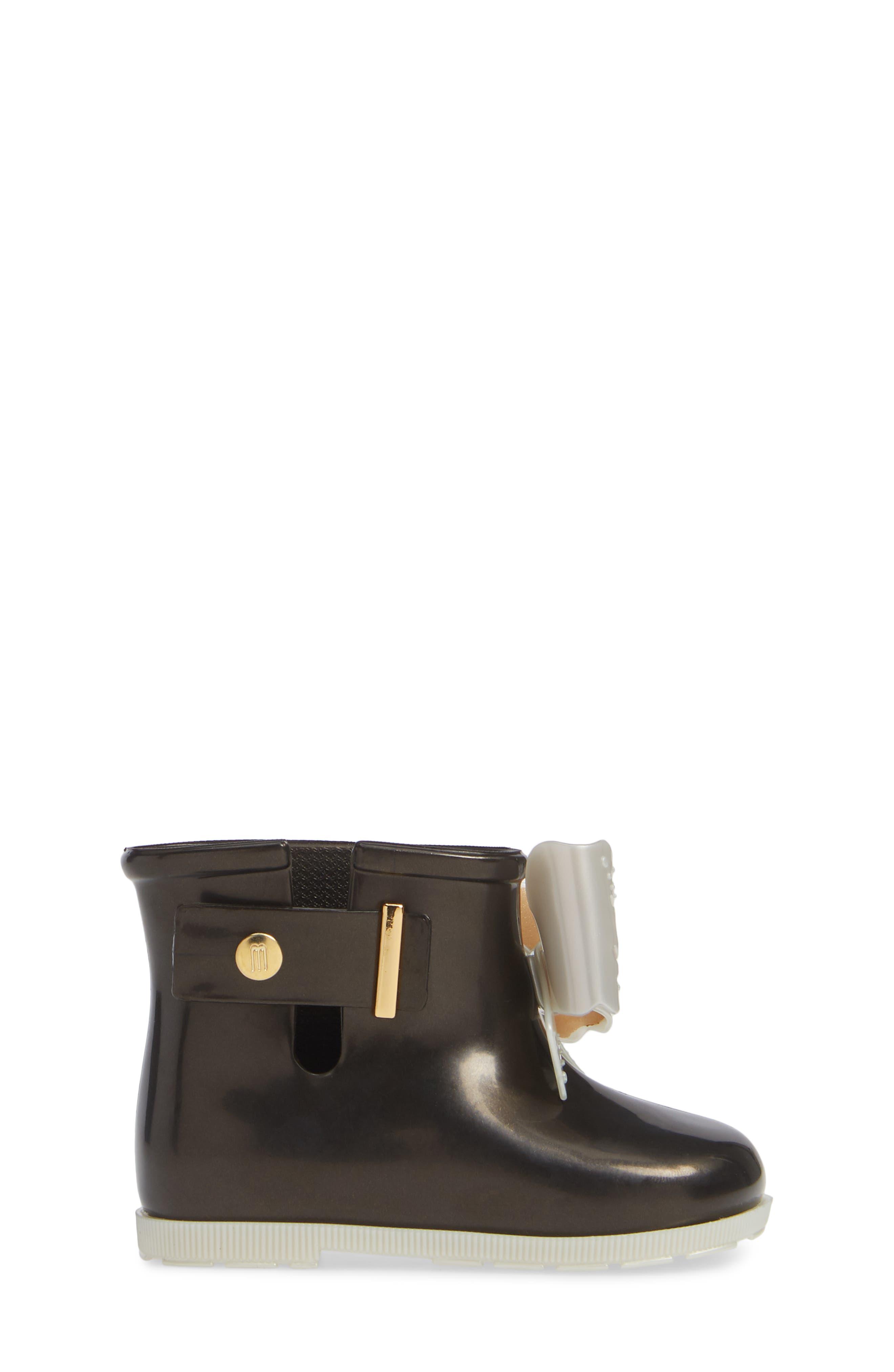 Mini Sugar Rain Boot,                             Alternate thumbnail 3, color,                             BLACK PEARLY WHITE