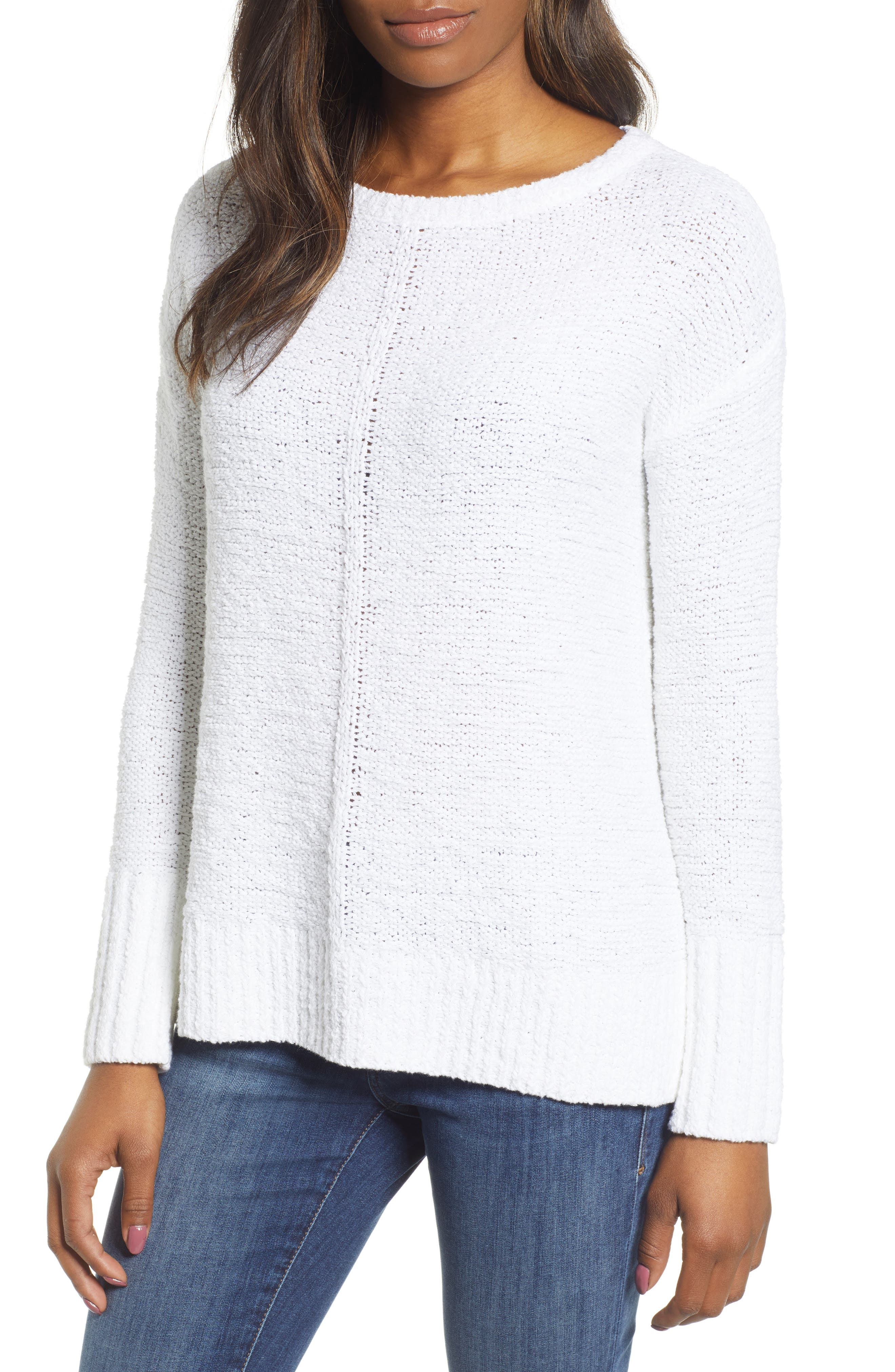 Button Back Sweater, Main, color, WHITE