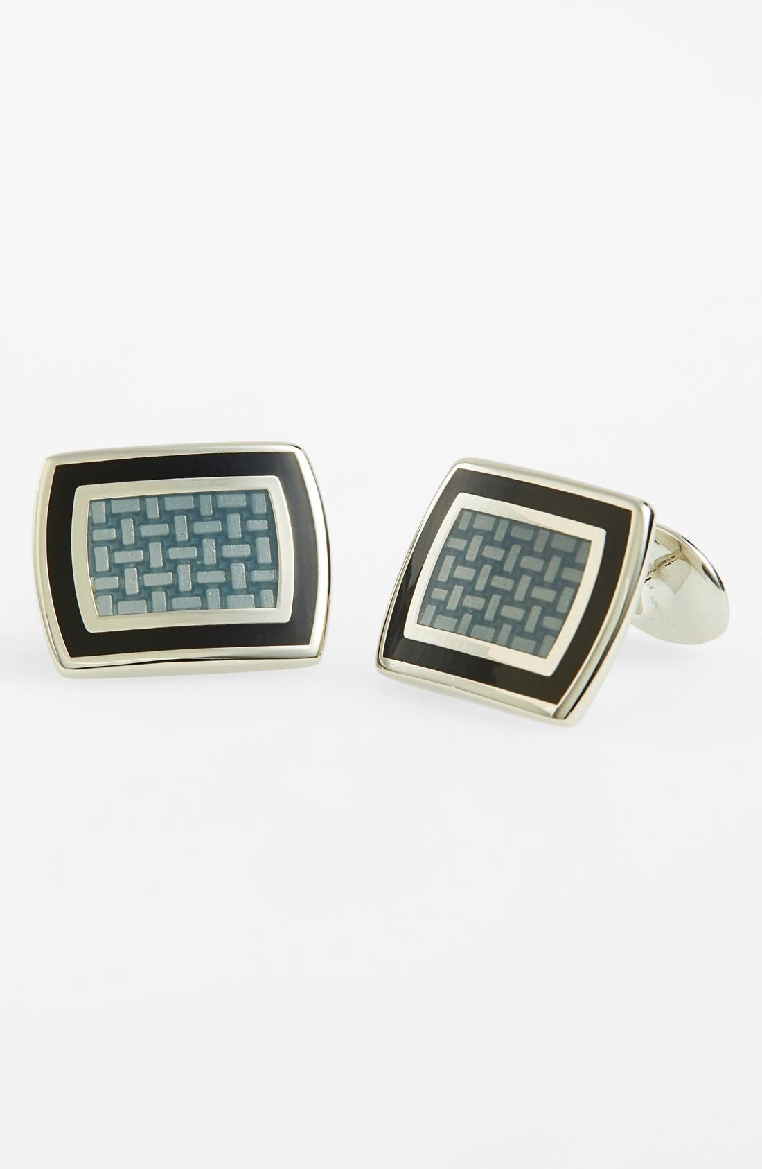 Sterling Silver Cuff Links,                             Main thumbnail 1, color,                             STERLING SILVER/ BLACK/ GREY